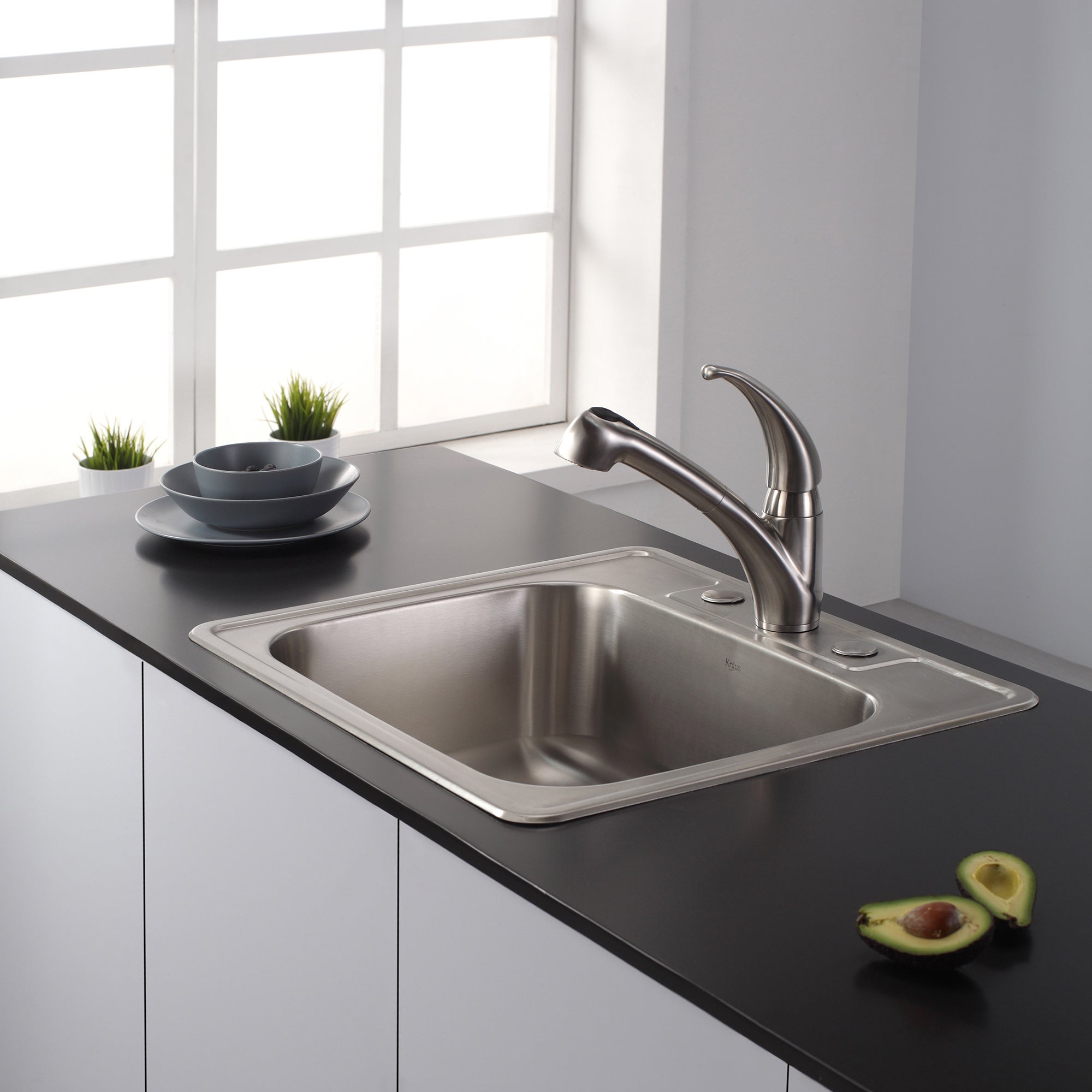 KRAUS Single-Handle Solid Stainless Steel Kitchen Faucet with Pull ...