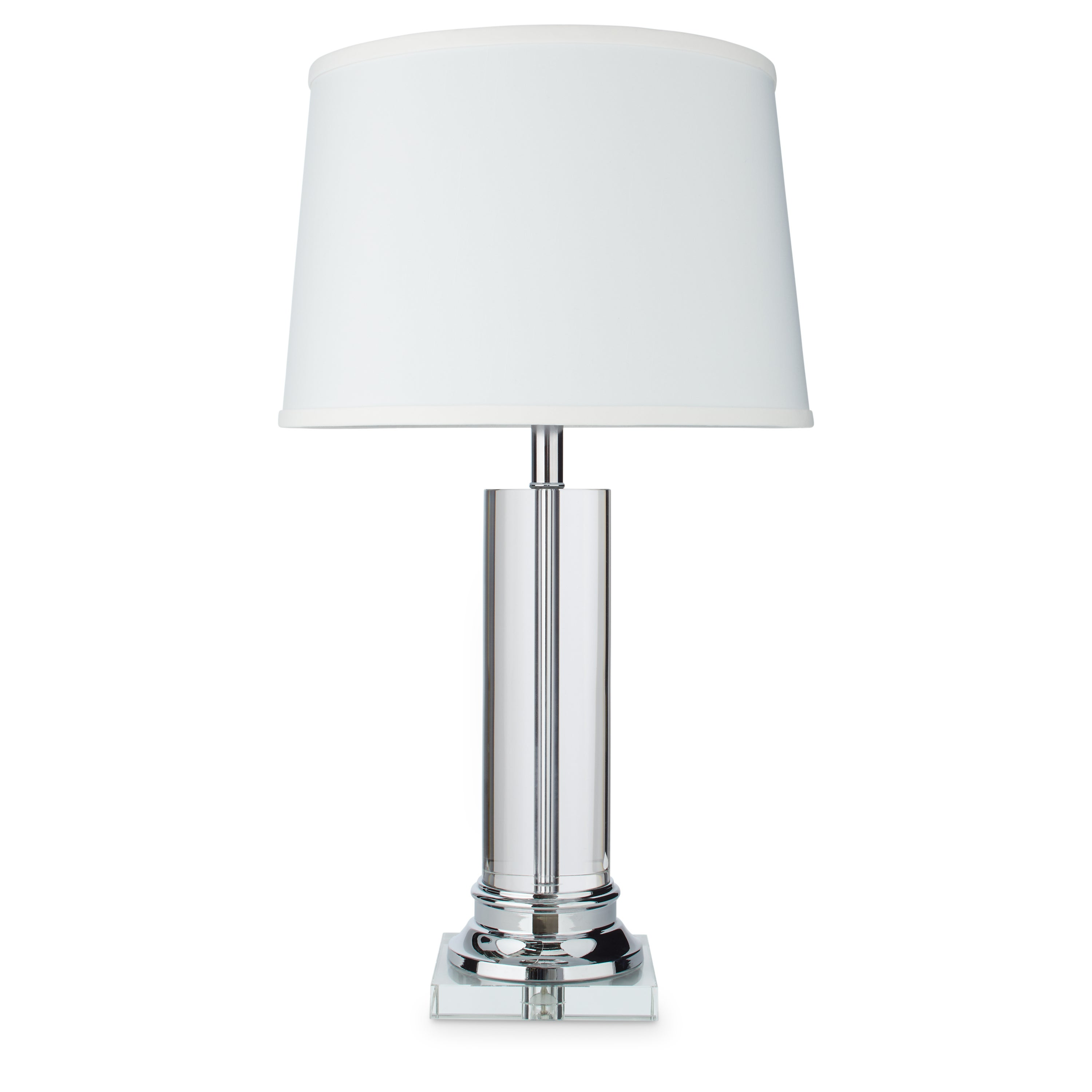 modern of brushed table chrome fabric lamp lamps products shade with set white