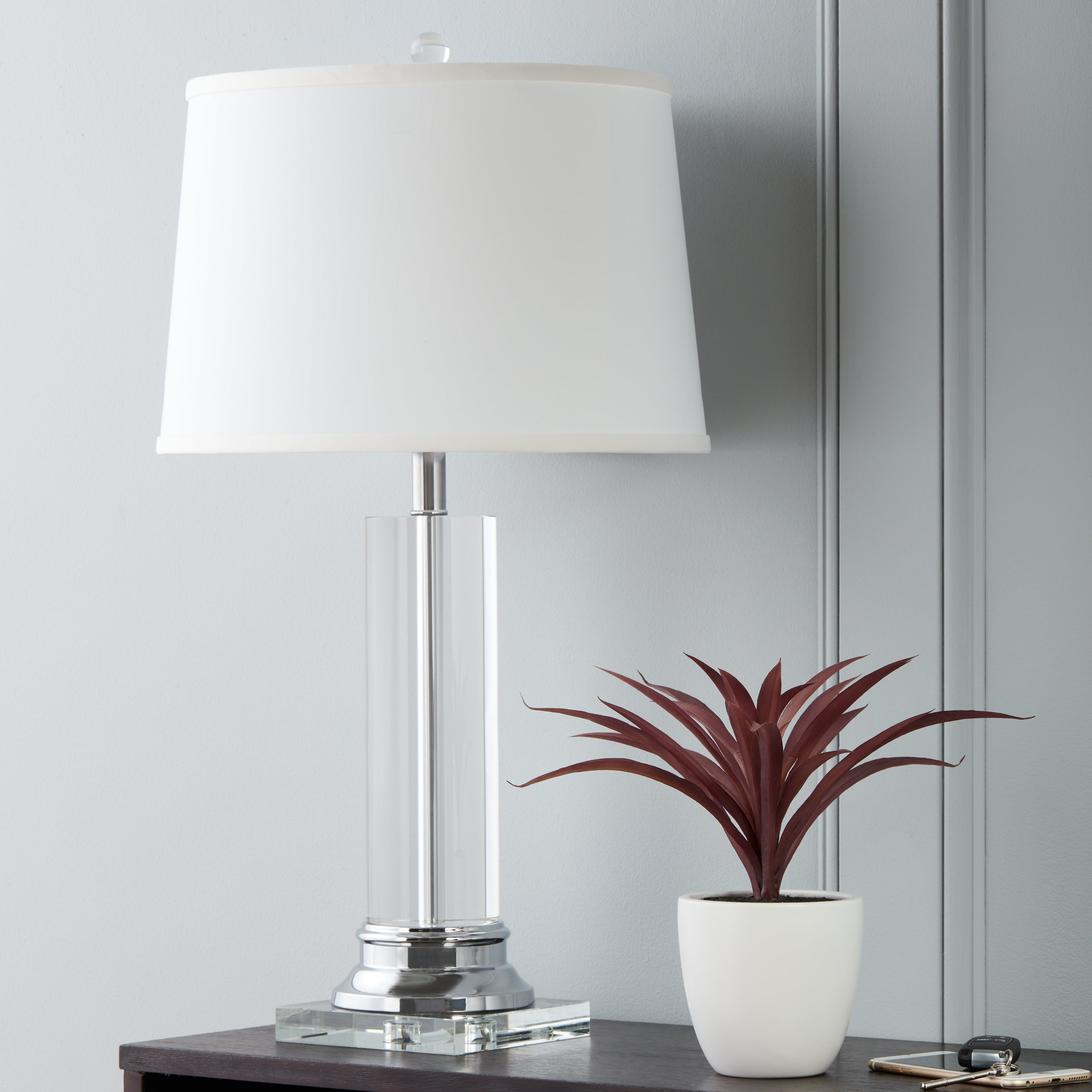 Crystal Column Chrome Finish Table Lamp   Free Shipping Today    Overstock.com   11276430