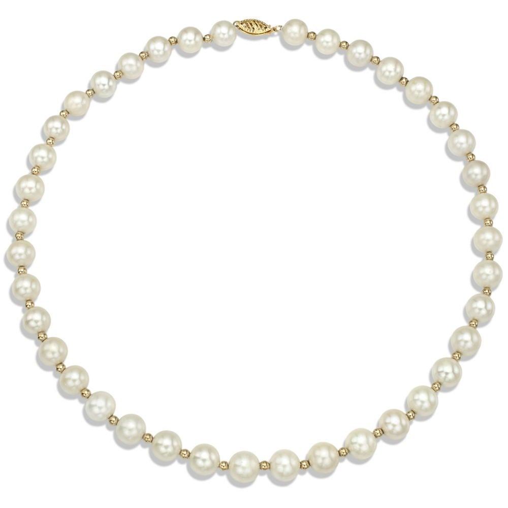 DaVonna 14k Yellow Gold Beads and White FW Pearl Necklace (9-10 mm ...