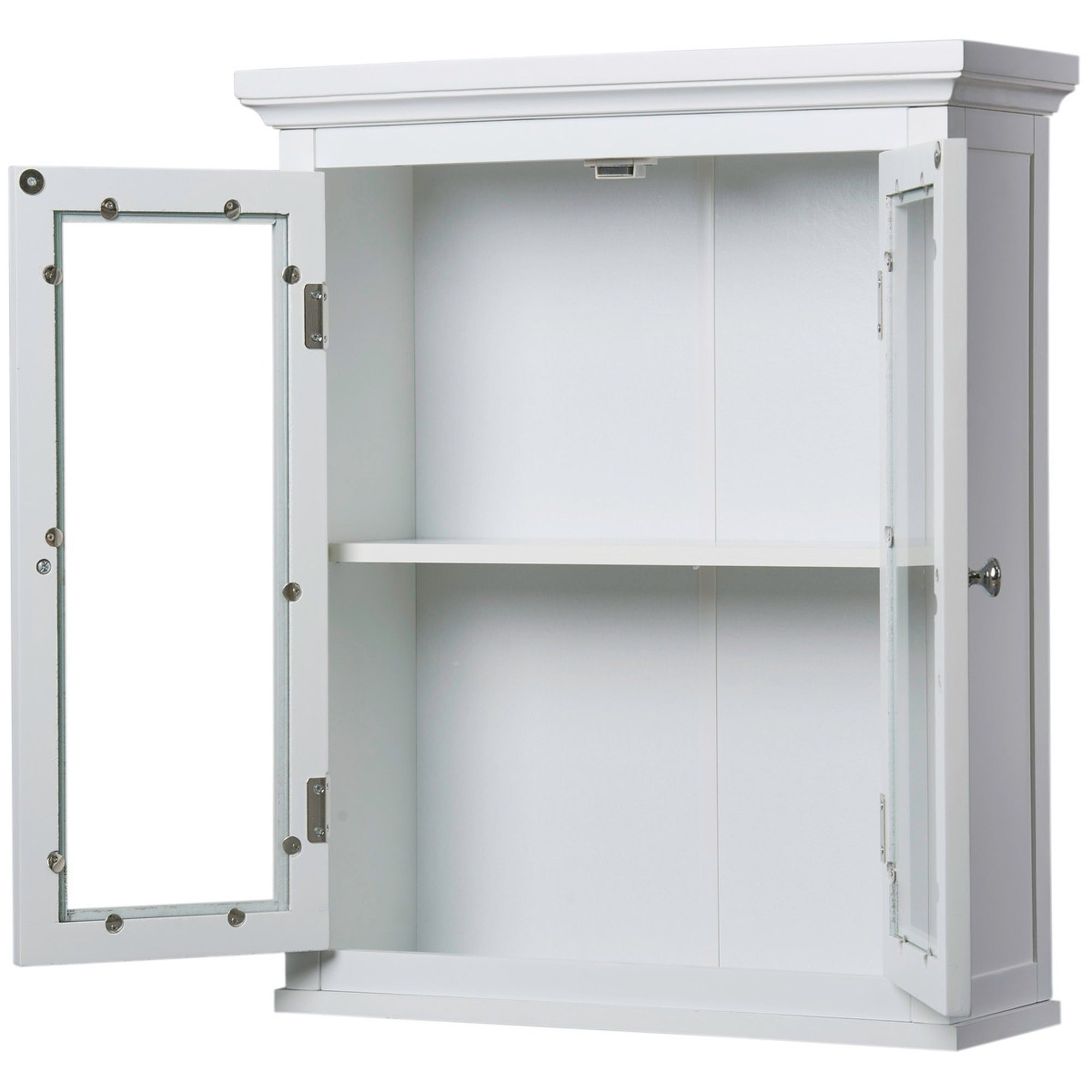 Shop Classique White Wall Cabinet With Two Doors Free Shipping