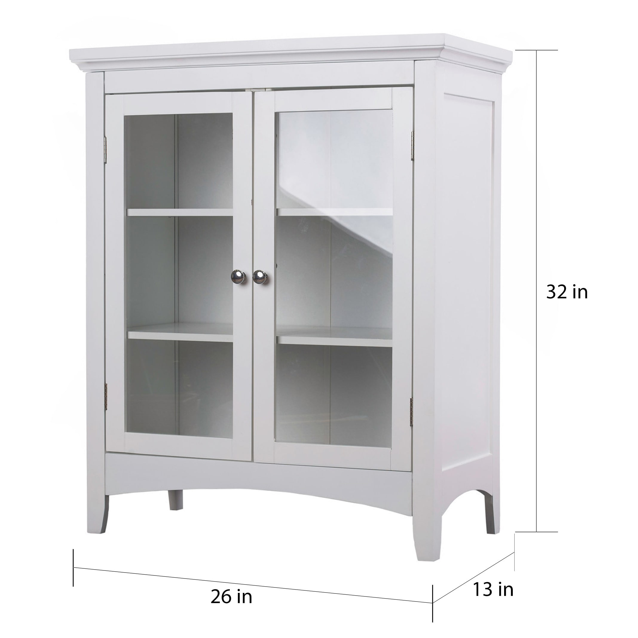 Clique White Double Floor Cabinet By Elegant Home Fashions