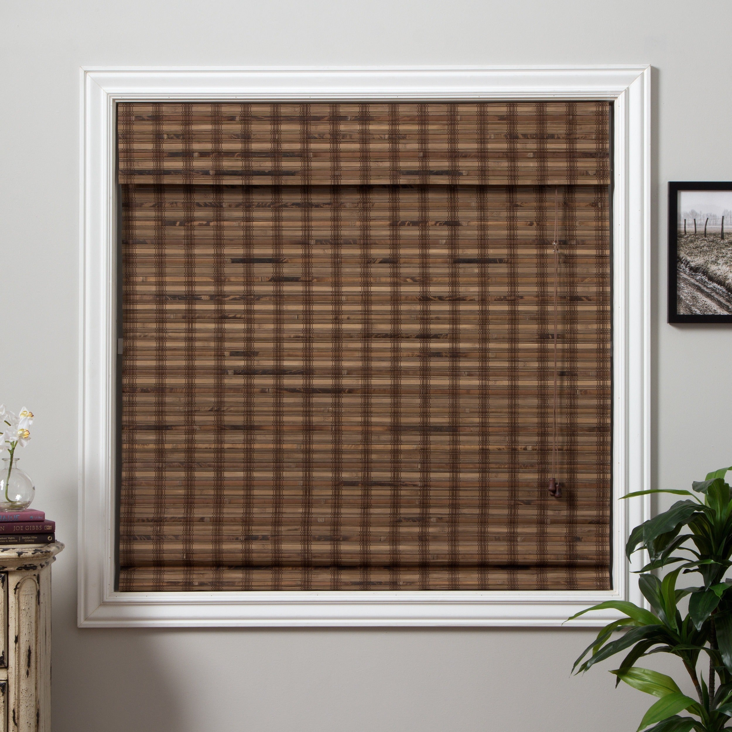 Shop Arlo Blinds Guinea Deep Bamboo Roman Shade with 74 Inch Height ...