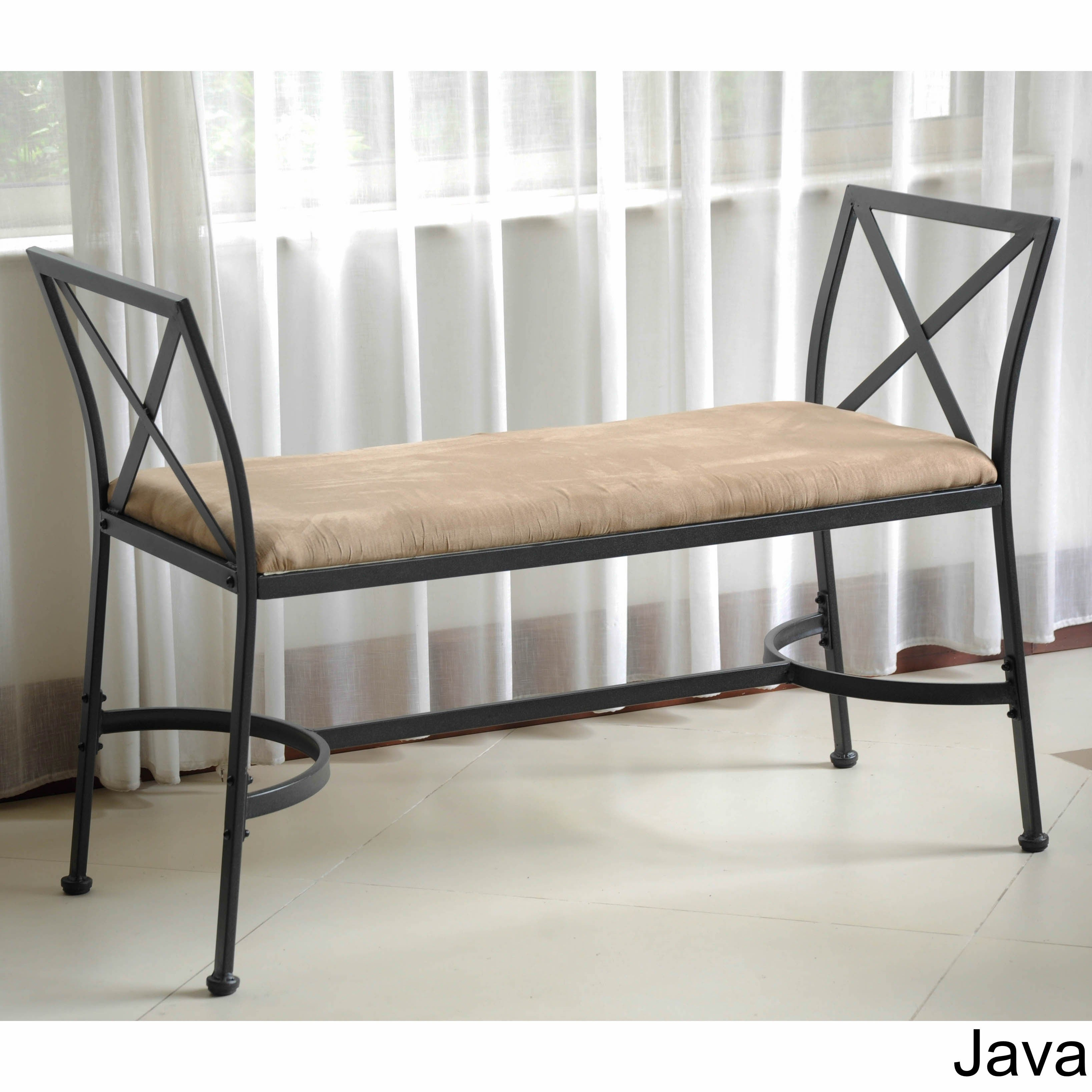 Shop International Caravan Iron Foot Of Bed Bench With Microsuede Cushion    On Sale   Free Shipping Today   Overstock.com   3175614