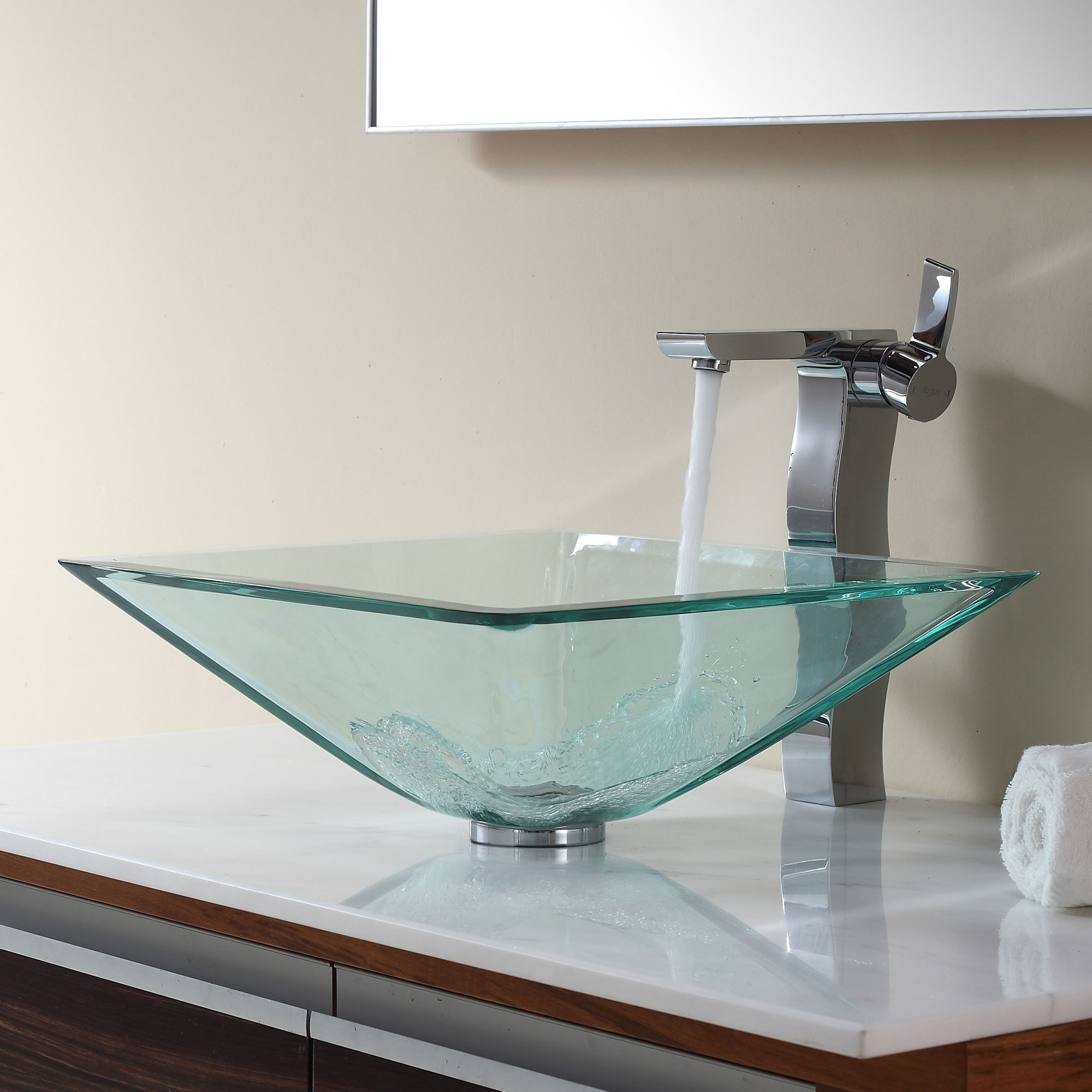 Charming Shop KRAUS GVS 901 Clear 16 1/2 Inch Square Glass Vessel Bathroom Sink With  Pop Up Drain, Mounting Ring Option   Free Shipping Today   Overstock.com    ...