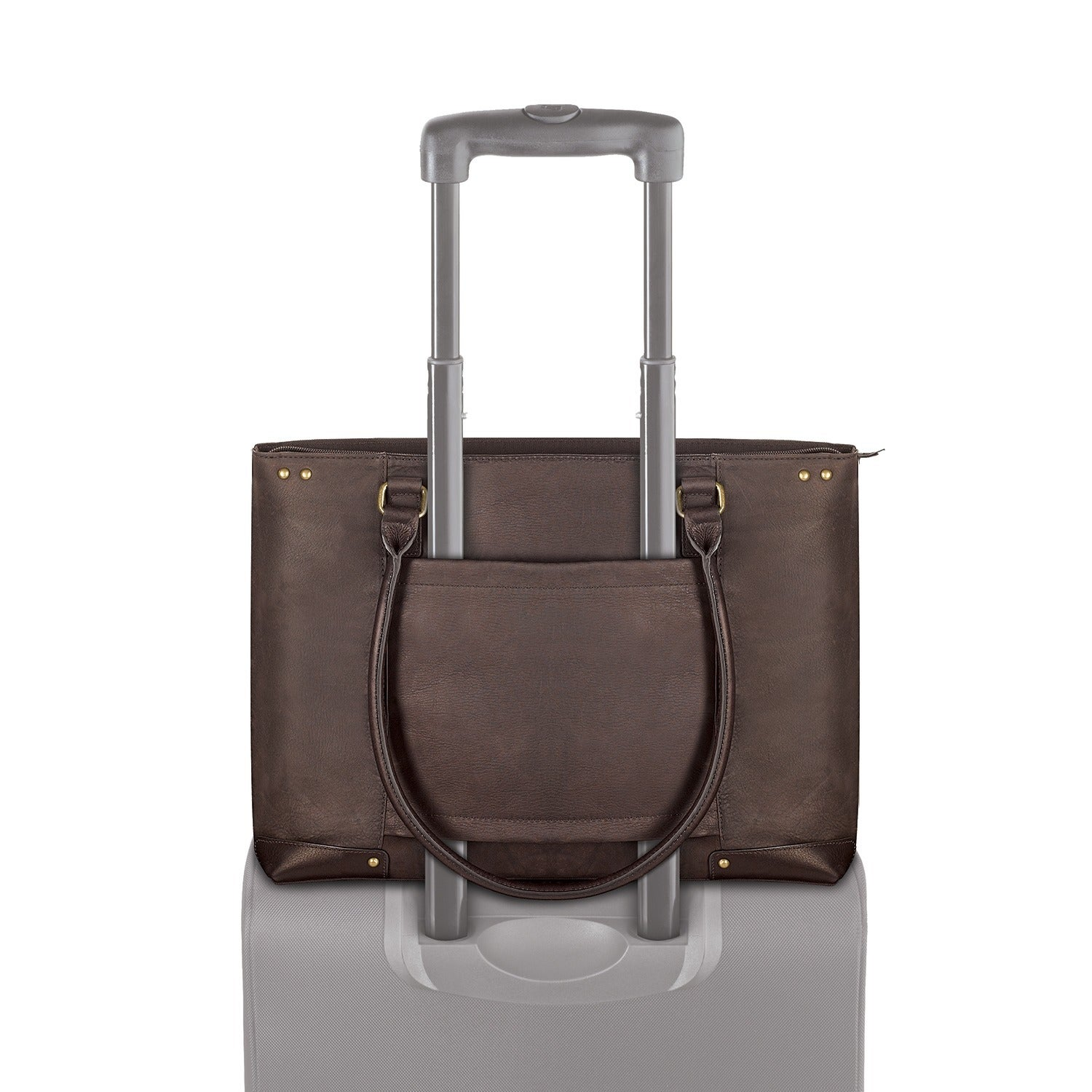 fabc5aefdfd8 Shop SOLO Women s 15.6-inch Espresso Leather Laptop Tote - Free Shipping  Today - Overstock - 3202644
