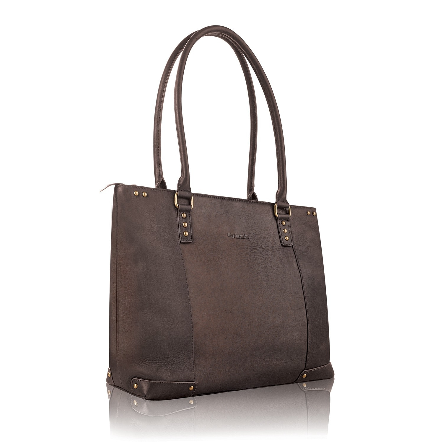Solo Women S 15 6 Inch Espresso Leather Laptop Tote Free Shipping Today 3202644