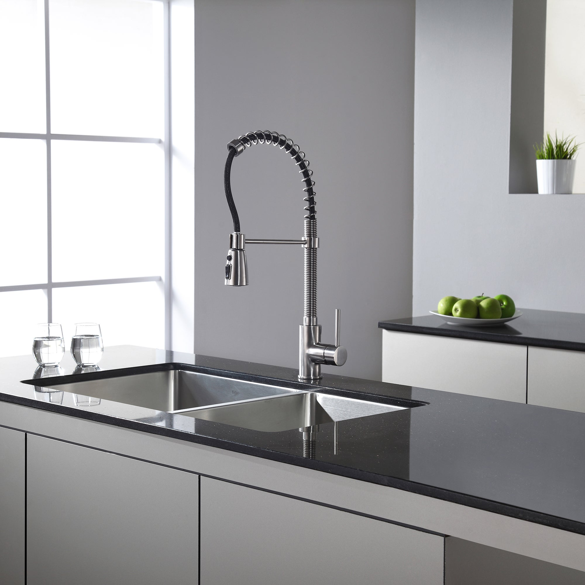 KRAUS Commercial-Style Single-Handle Kitchen Faucet with Pull Down  Three-Function Sprayer - Free Shipping Today - Overstock.com - 11345066