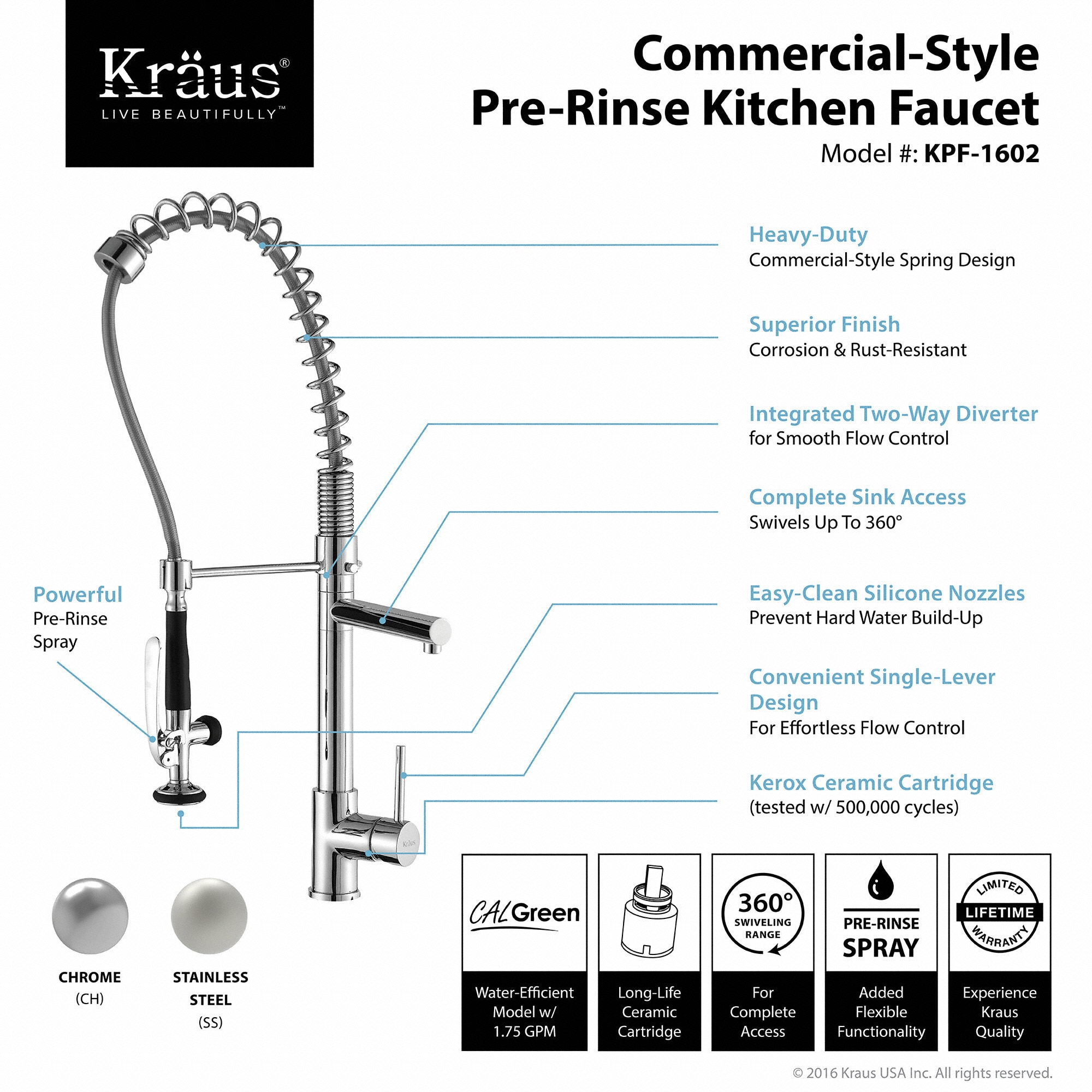 chrome function dual pull single sprayhead finish stainless commercial com handle in steel walmart faucet with bolden kraus sprayer kitchen ip inch down