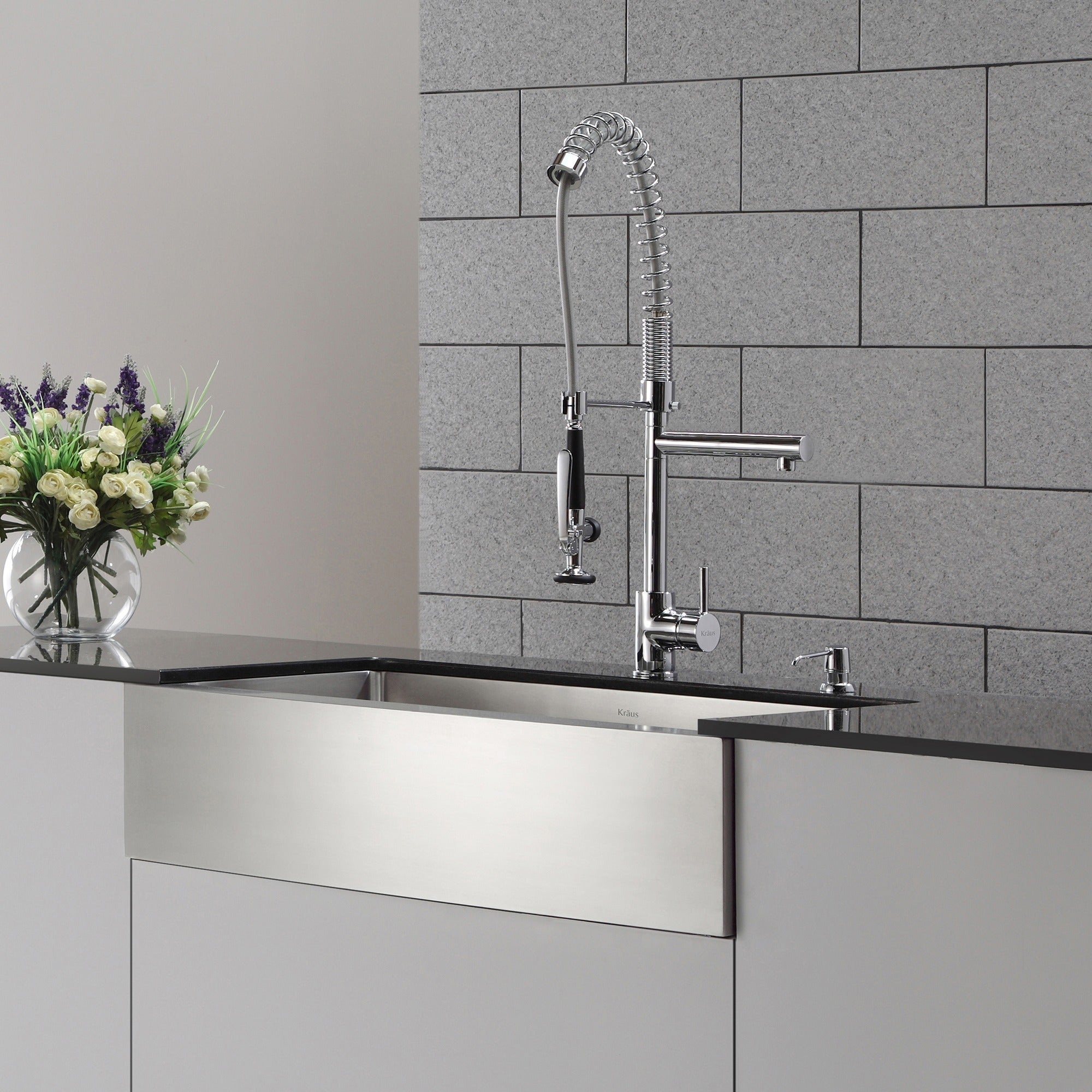 Shop KRAUS Commercial-Style Single-Handle Kitchen Faucet with Pull ...