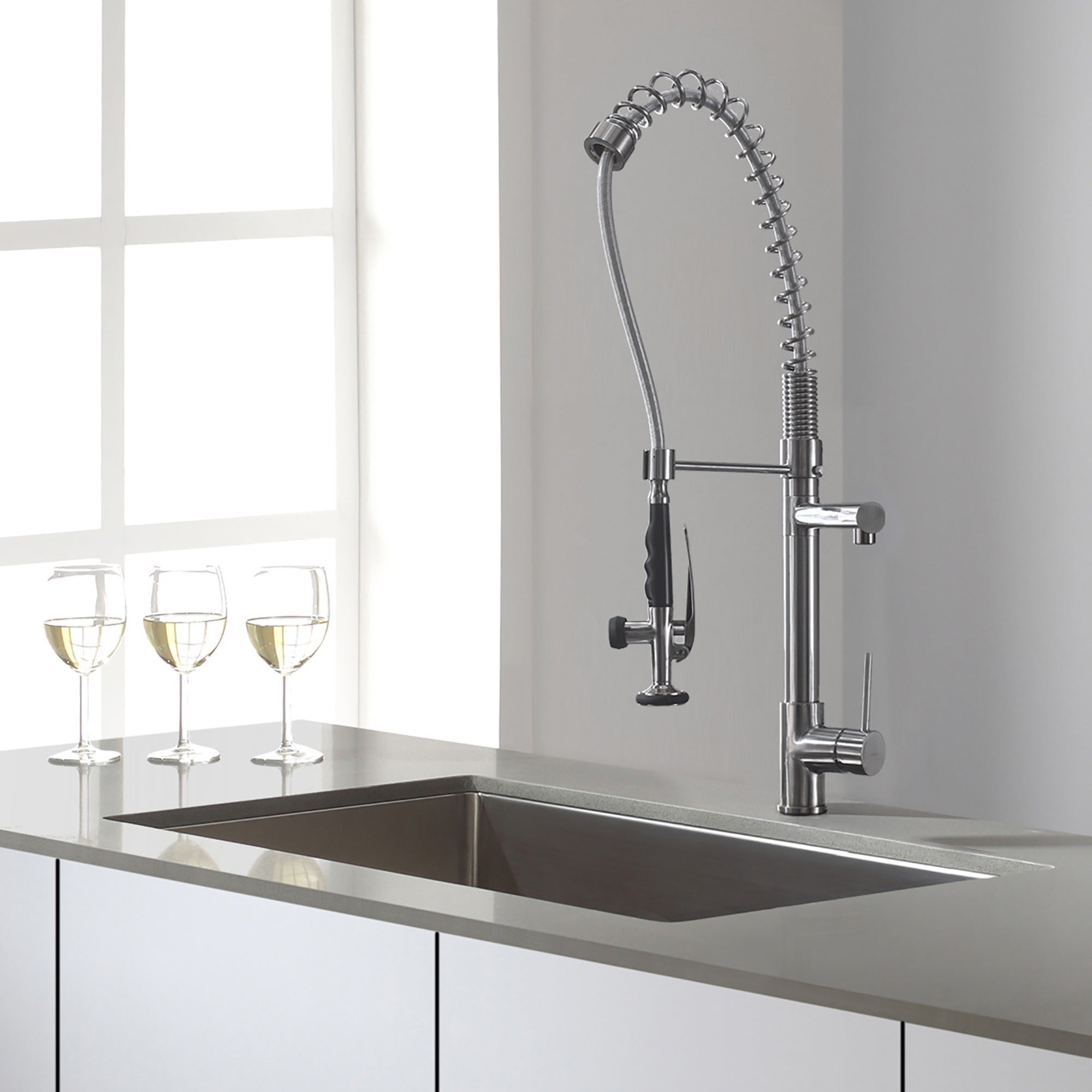 Kraus Commercial Style Single Handle Kitchen Faucet With Pull Down Pre Rinse Sprayer Free Shipping Today 11345091