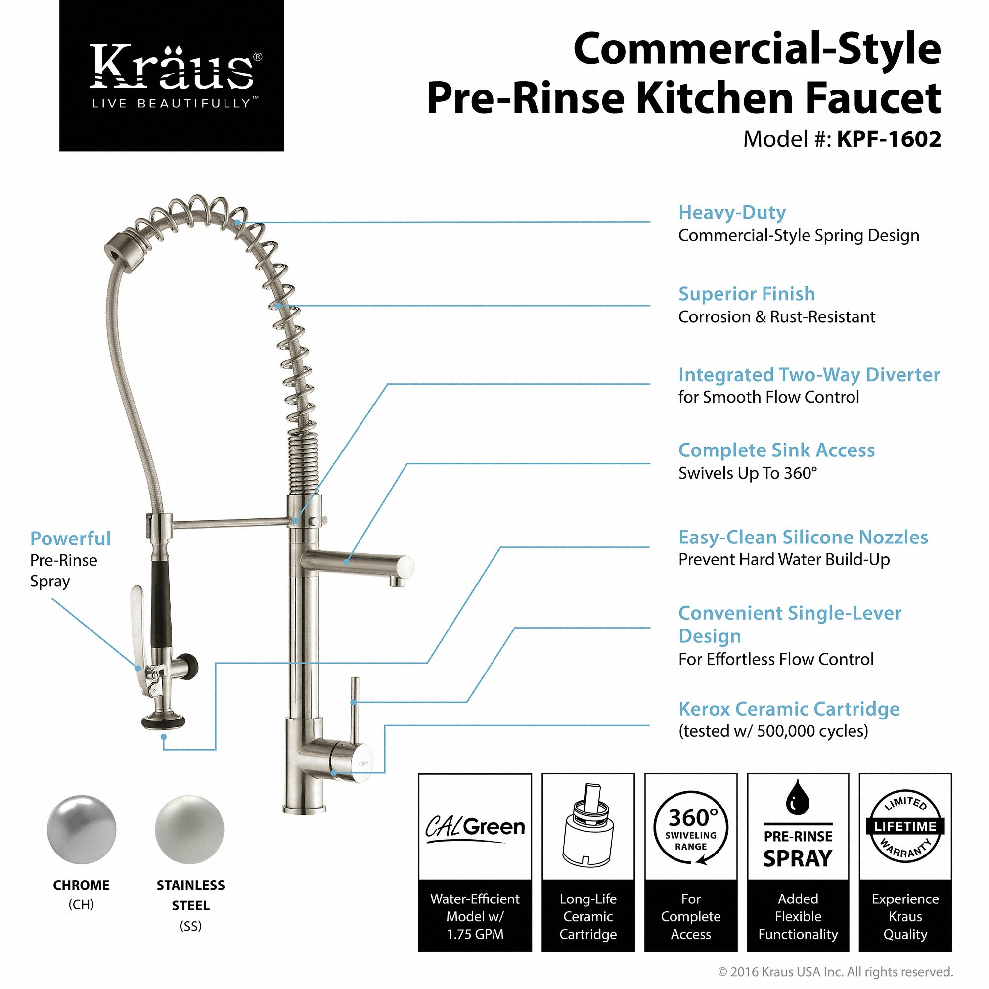 overstock coupon handle garden shipping kraus today direct single down style kitchen with rinse pre pull commercial free home product faucet sprayer