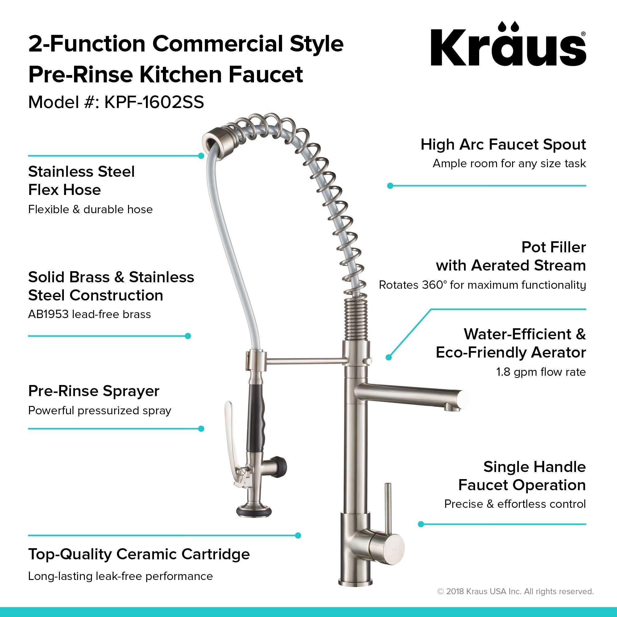 Shop Kraus Kpf 1602 Commercial Style 1 Handle 2 Function Pre Rinse