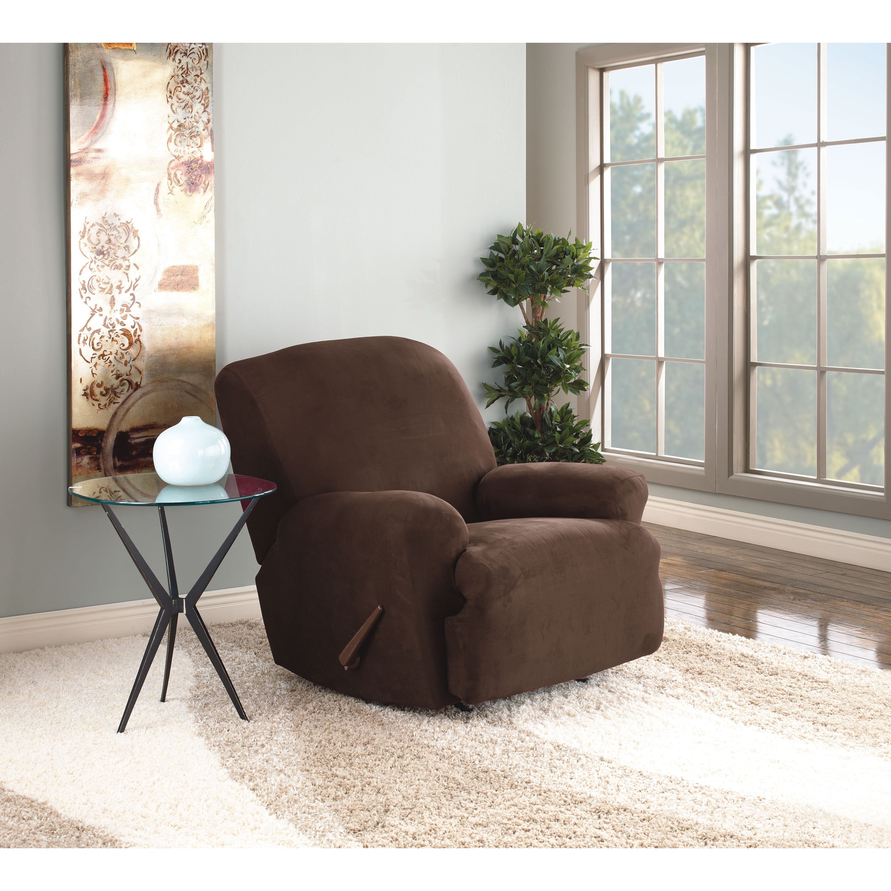 slipcover ultimate recliner free fit product sure shipping stretch home garden today suede overstock slipcovers