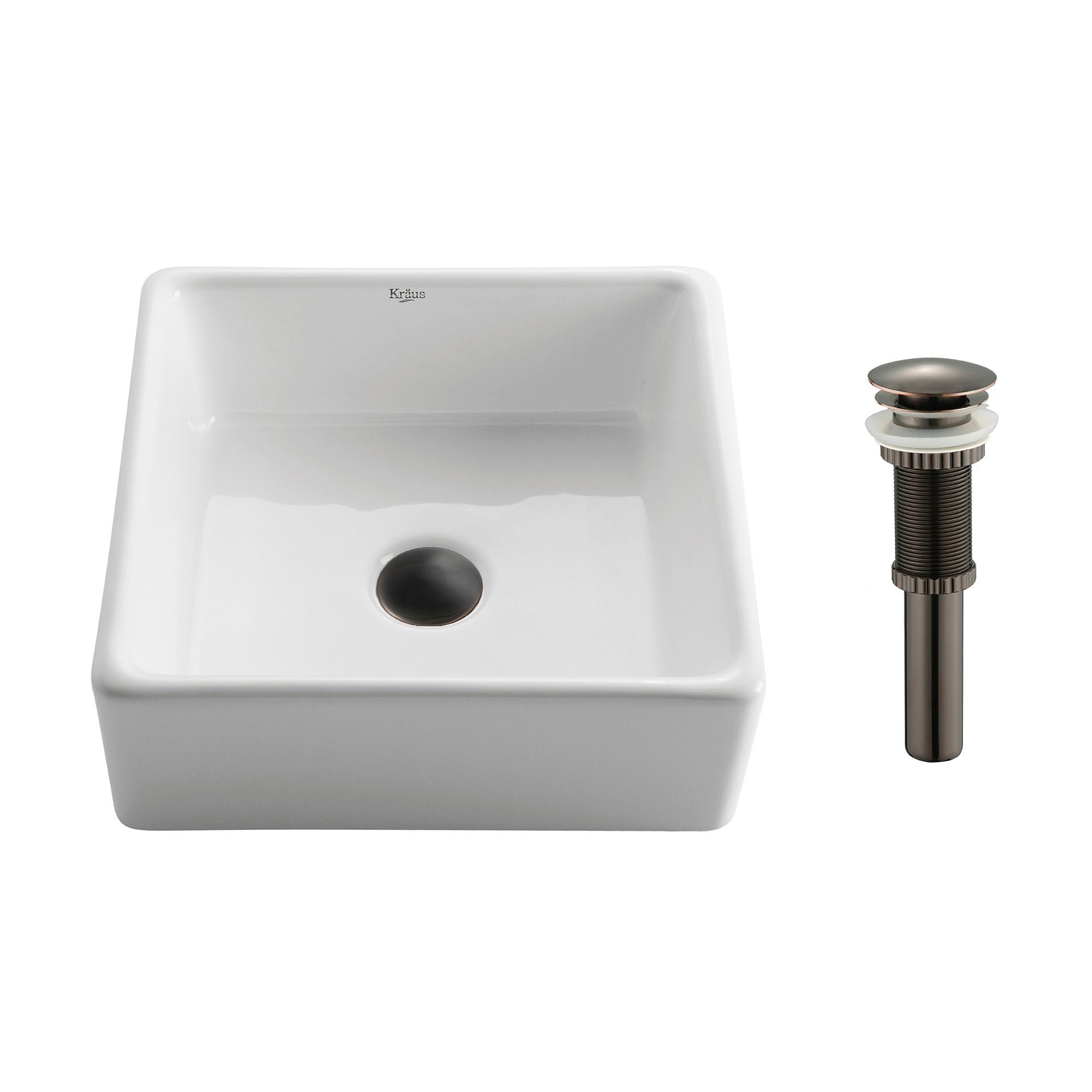 Kraus Kcv 120 Elavo 15 Inch Square Vessel Porcelain Ceramic Vitreous Bathroom Sink In White Pop Up Drain Optional On Free Shipping Today