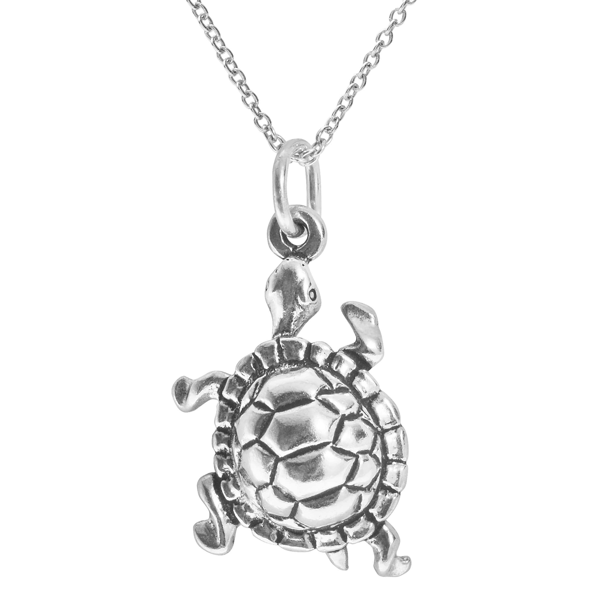swimming p on sterling necklace turtle cord novica black pendant silver