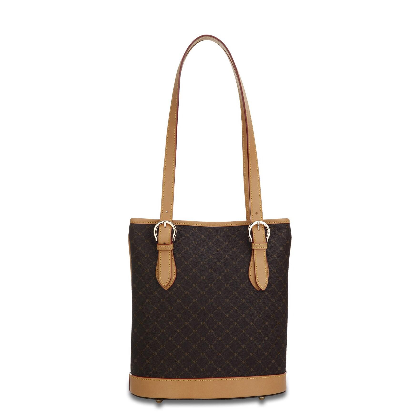 Shop Rioni Signature Brown Shoulder Bucket Handbag - Free Shipping Today -  Overstock.com - 3255088 8c0b5a1a48