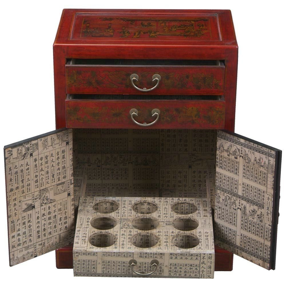 Handmade Hand Painted Oriental Wine Bar Cabinet Red China Free Shipping Today 3260515