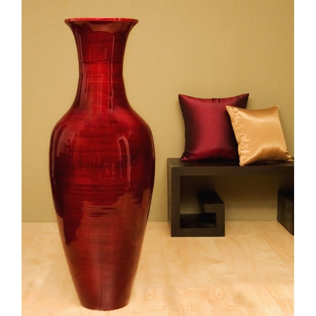Shop Mahogany Bamboo 47 Inch Floor Vase And Branches Free Shipping