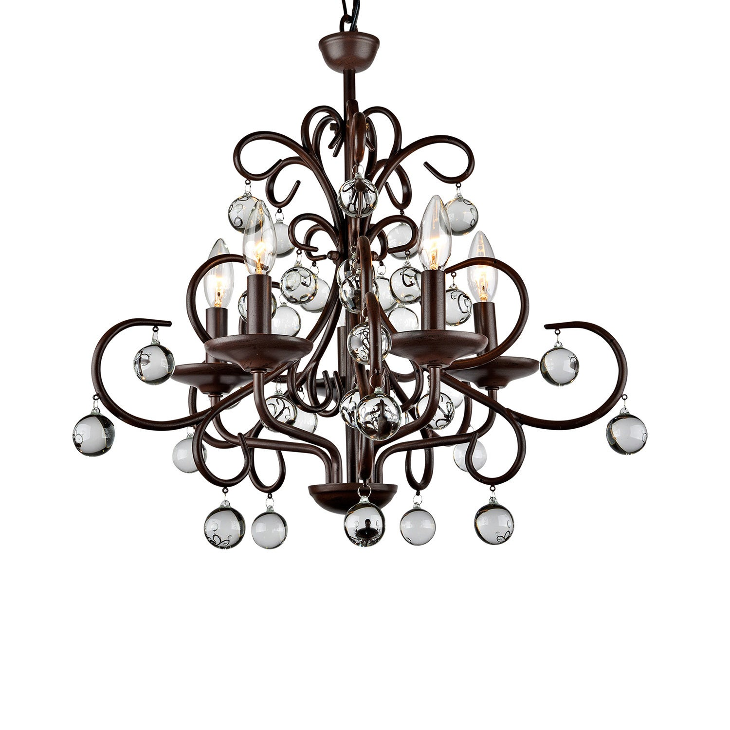 Wrought iron and crystal 5 light chandelier free shipping today wrought iron and crystal 5 light chandelier free shipping today overstock 11387594 arubaitofo Images