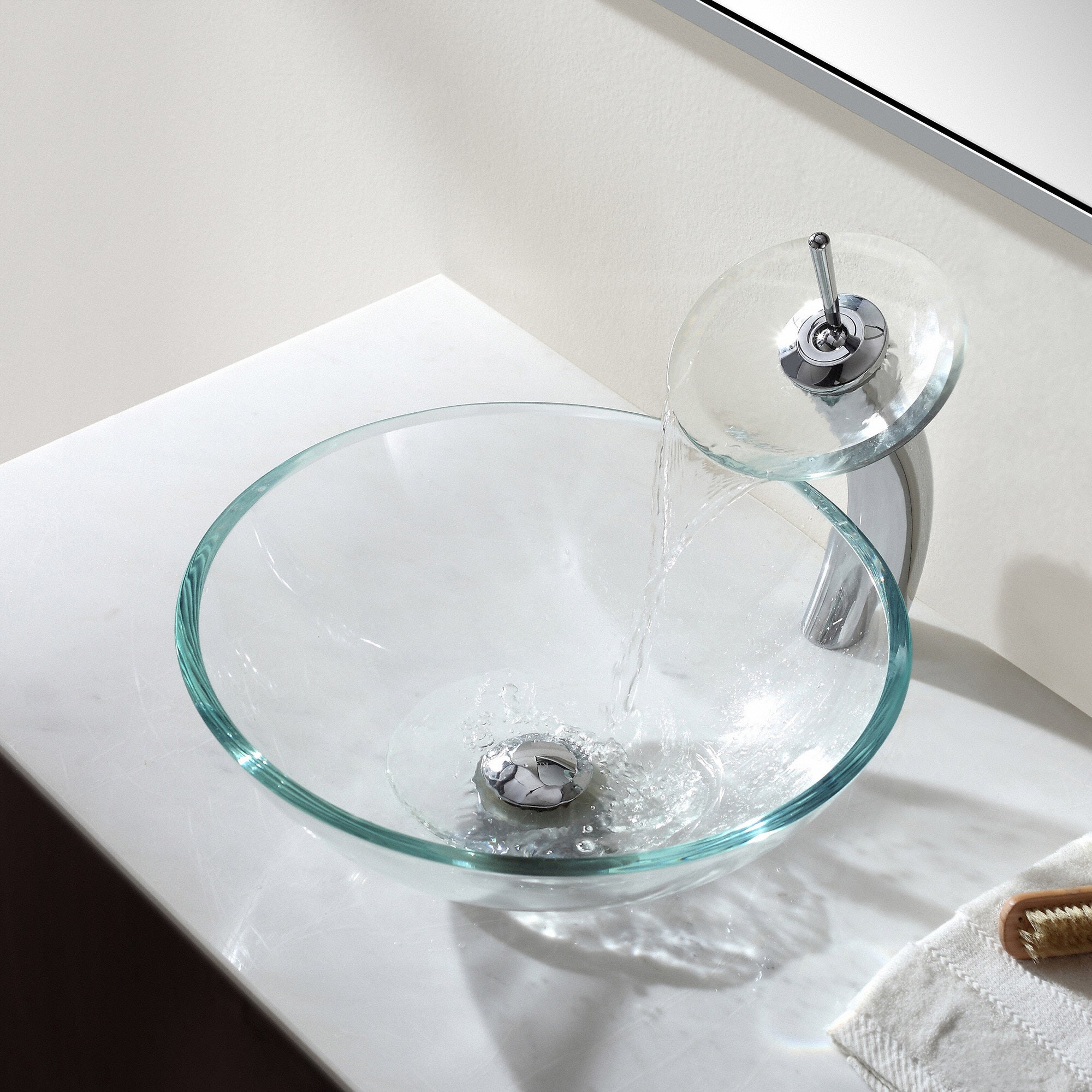 glass waterfall itm mark faucet ebay sink bathroom faucets vessel