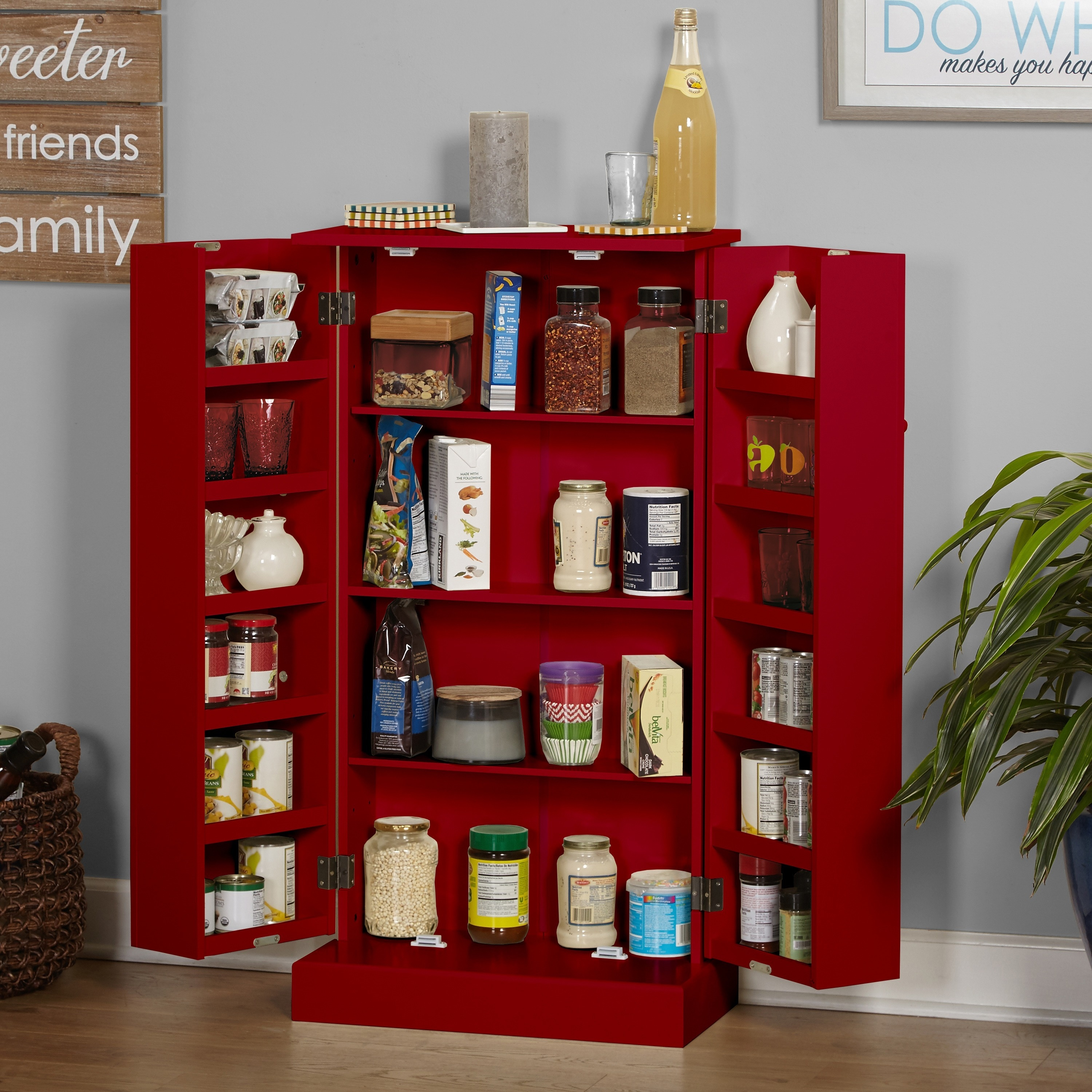Simple Living Pine Utility Kitchen Pantry Free Shipping Today 3303390