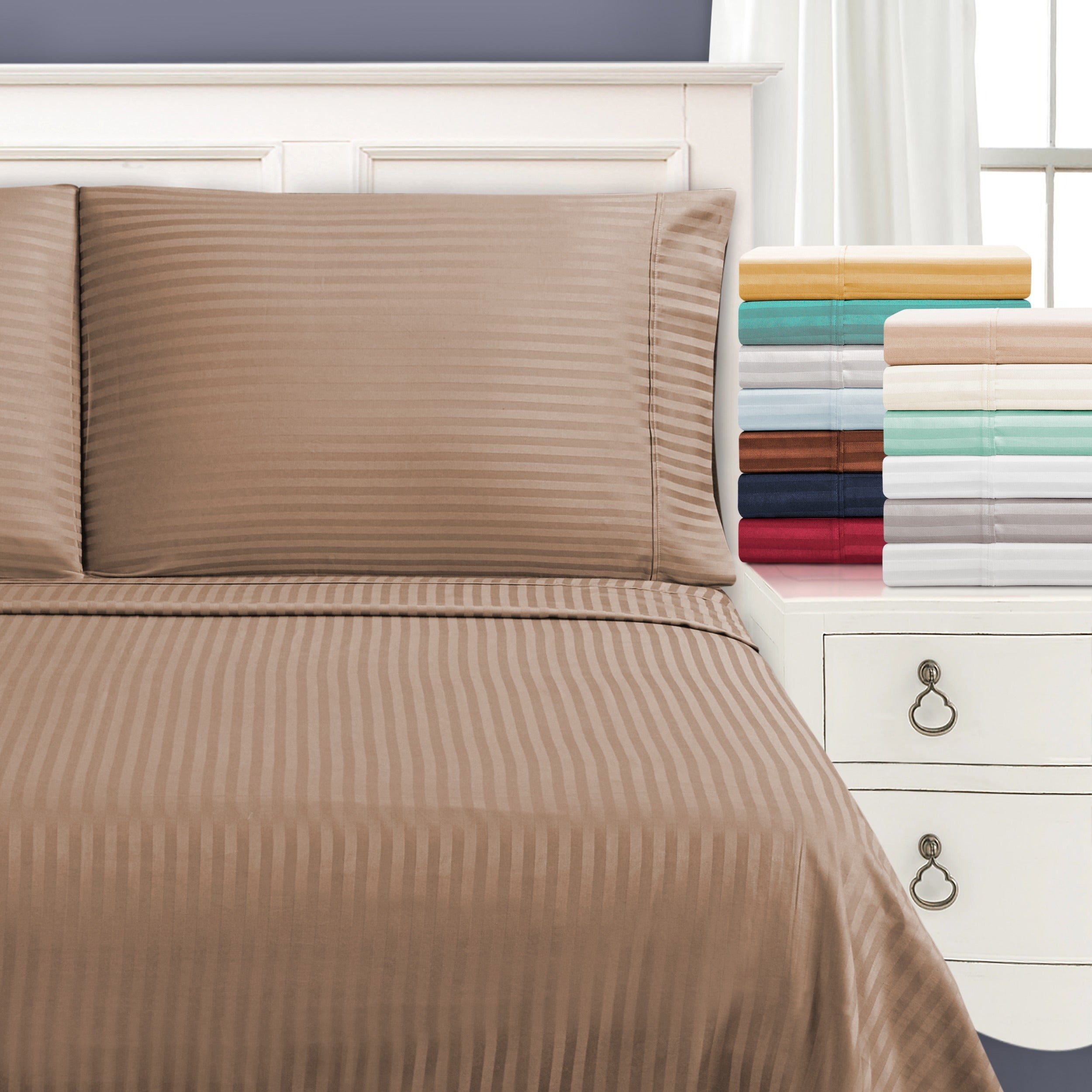 Superior Egyptian Cotton 650 Thread Count Stripe Deep Pocket Sheet Set