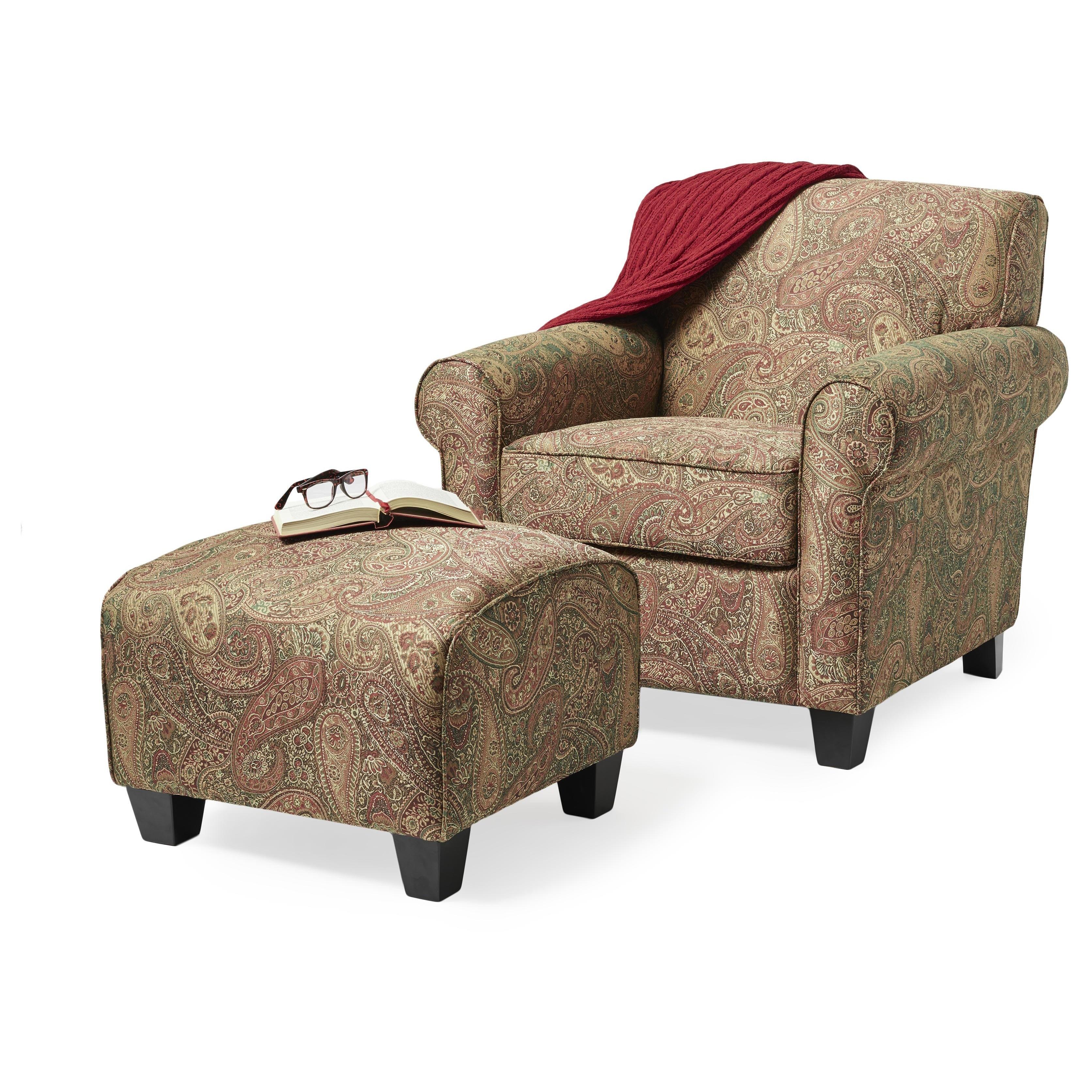 Portfolio Mira 8 way Hand tied Paisley Arm Chair and Ottoman