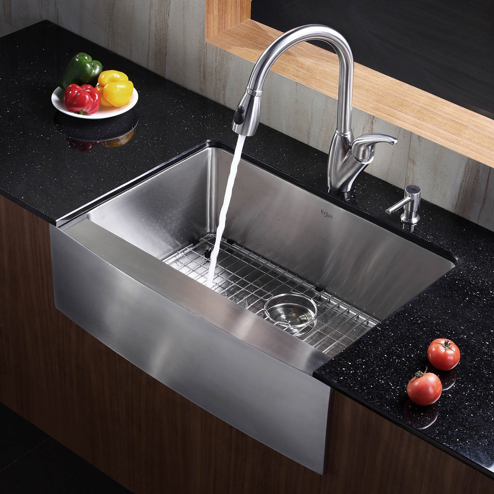 Shop kraus khf200 30 farmhouse apron front 30 in 16g 1 bowl satin stainless steel kitchen sink grid strainer towel on sale free shipping today