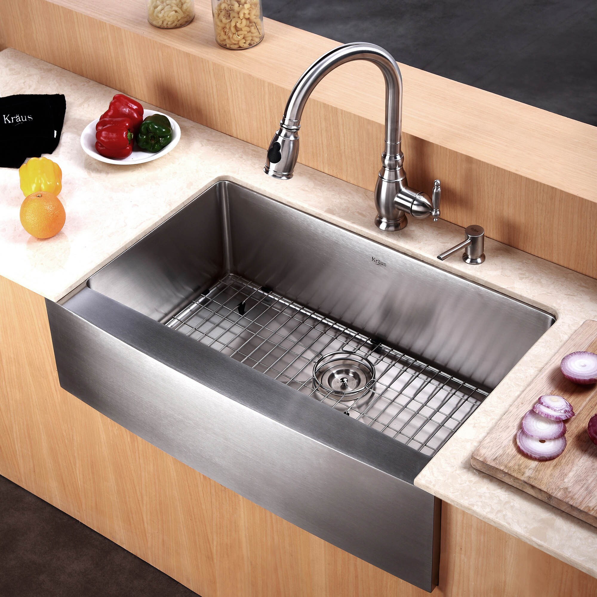 Kraus Khf200 30 Farmhouse A Front In 16g 1 Bowl Satin Stainless Steel Kitchen Sink Grid Strainer Towel Free Shipping Today