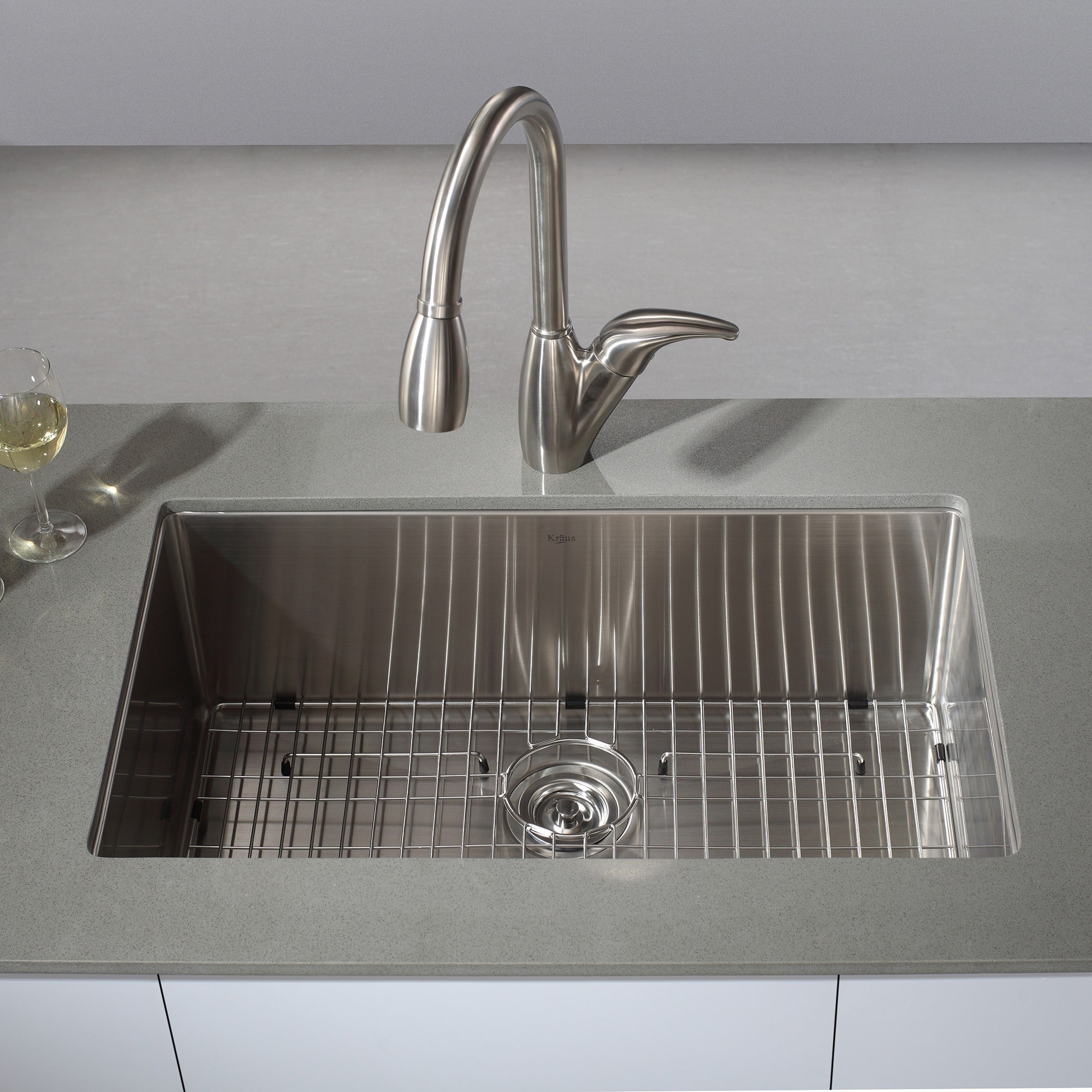 kraus 32 inch undermount single bowl 16 gauge stainless steel kitchen sink with noisedefend soundproofing   free shipping today   overstock com   11477728 kraus 32 inch undermount single bowl 16 gauge stainless steel      rh   overstock com