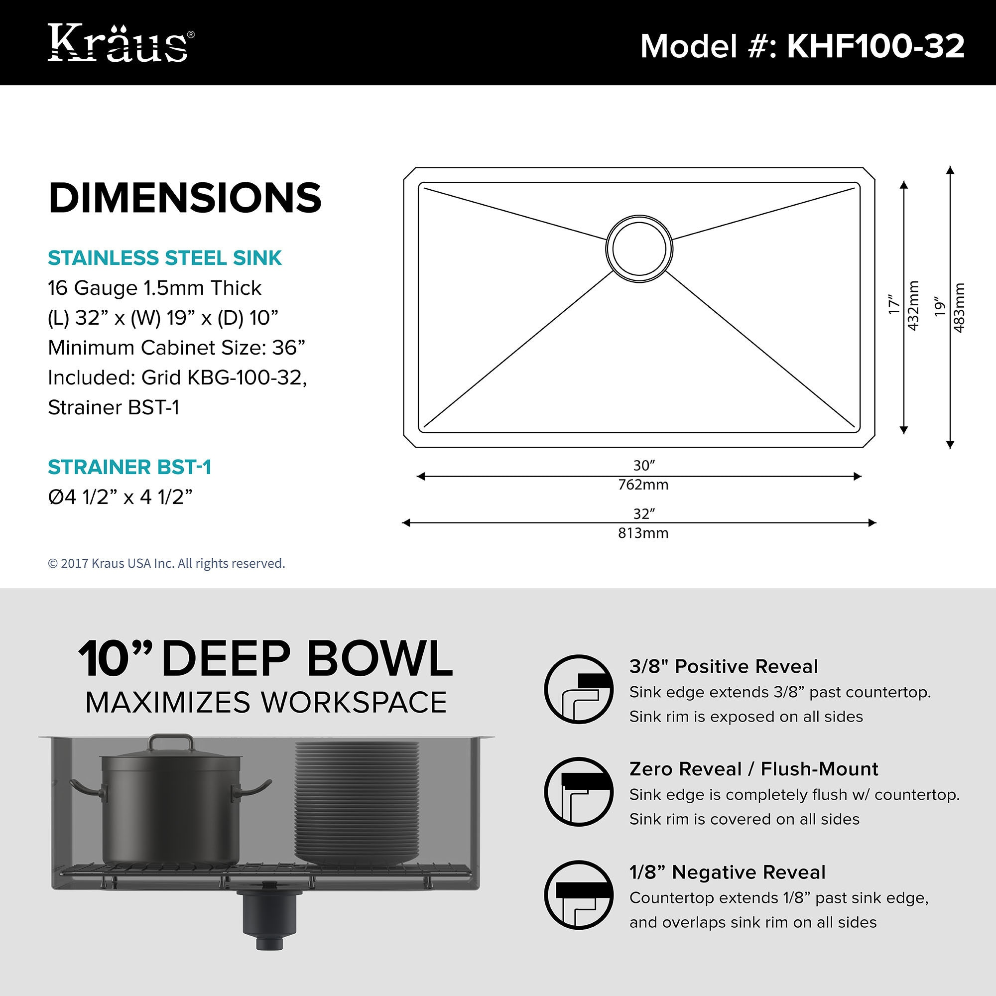 shop kraus khu100 32 standart pro undermount 32 inch 16 gauge single bowl satin stainless steel kitchen sink free shipping today overstockcom 3381358 - Kitchen Sink Dimensions