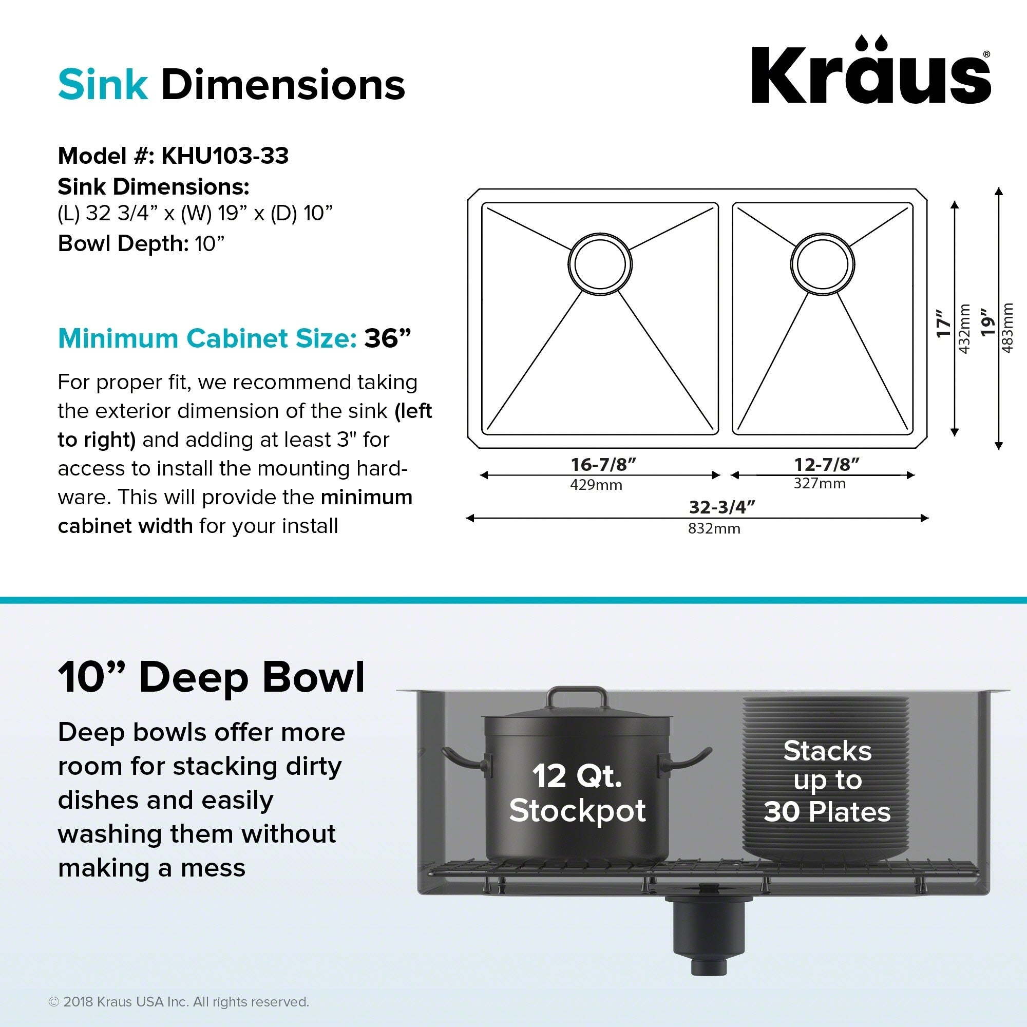 Double Kitchen Sink Dimensions Kraus standart pro 33 inch 16 gauge undermount 6040 double bowl kraus standart pro 33 inch 16 gauge undermount 6040 double bowl stainless steel kitchen sink free shipping today overstock 11477729 workwithnaturefo