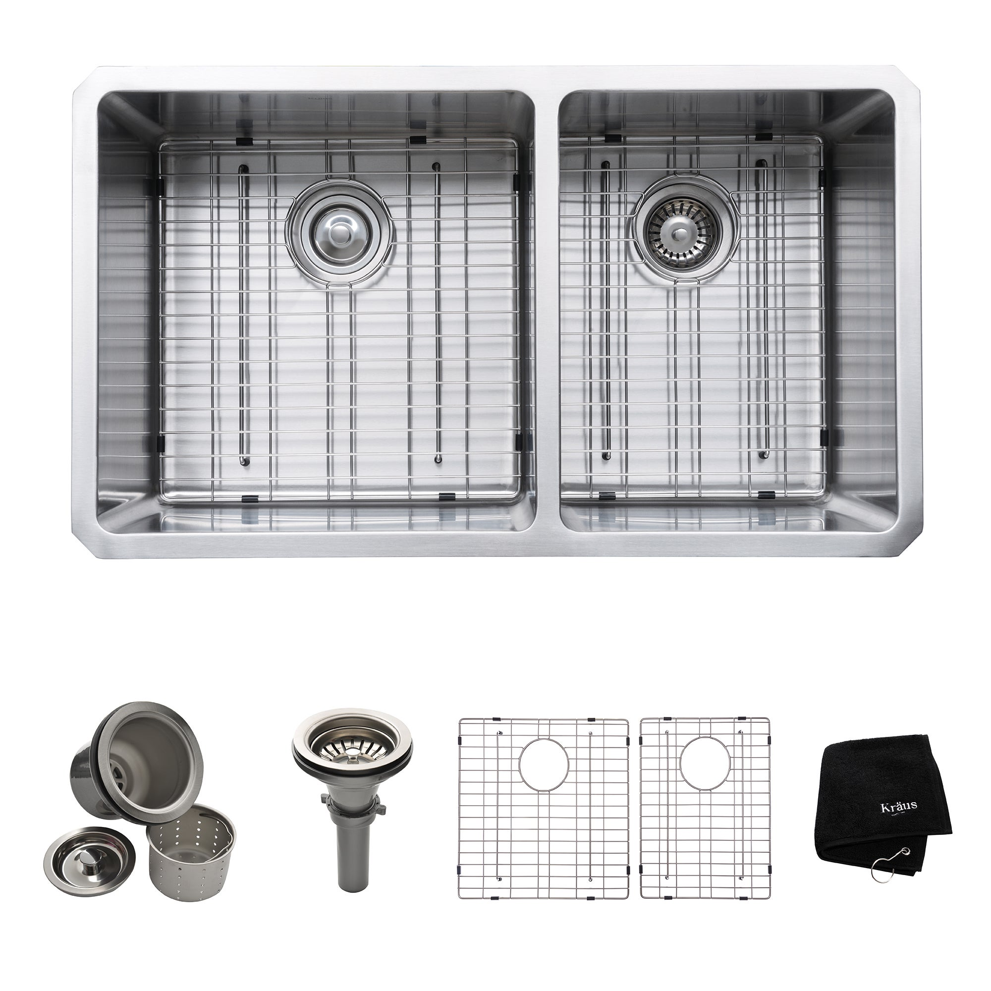3db6b815c8 Shop Kraus KHU103-33 Undermount 33-in 16G 60/40 2-Bowl Satin Stainless  Steel Kitchen Sink, Grids, Strainers, Towel - On Sale - Free Shipping Today  ...