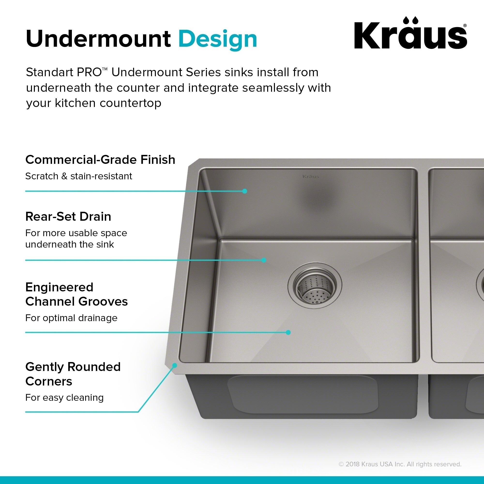 Shop Kraus KHU103-33 Standart PRO Undermount 33-inch 16 gauge 60/40 ...