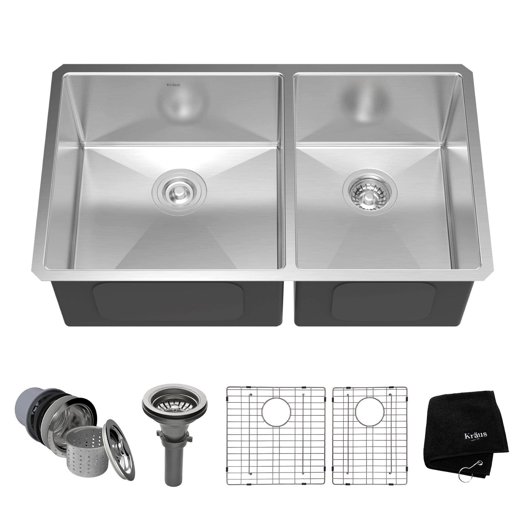 cf55faa1dd Kraus KHU103-33 Undermount 33-in 16G 60/40 2-Bowl Satin Stainless Steel  Kitchen Sink, Grids, Strainers, Towel