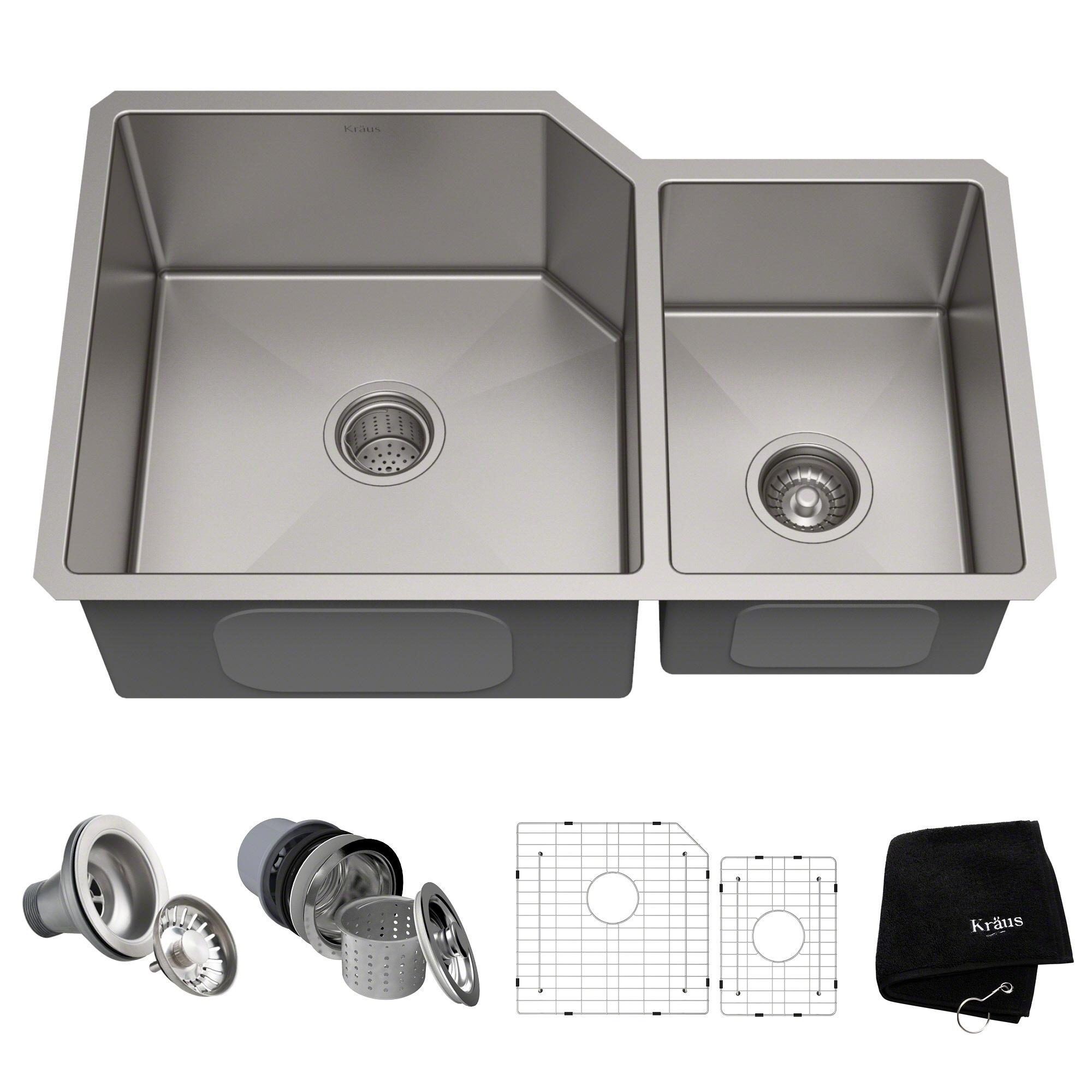 Kraus Khu123 32 Undermount 32 In 16g 6040 2 Bowl Satin Stainless Steel Kitchen Sink Grids Strainers Towel