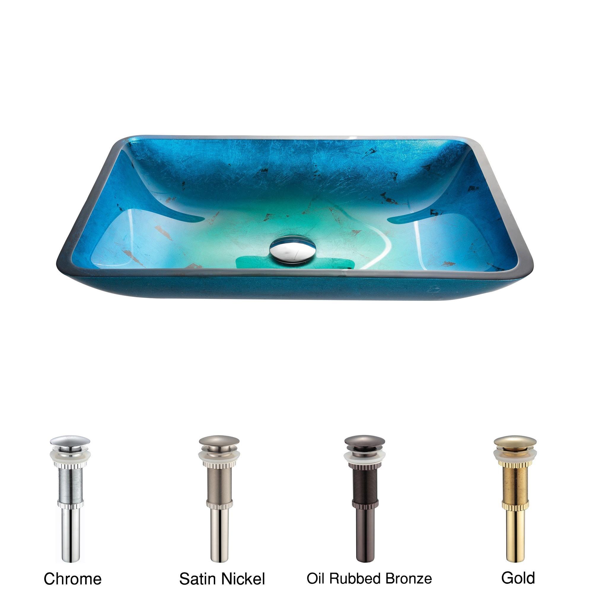 KRAUS Irruption Rectangular Glass Vessel Sink in Blue with Pop-Up ...