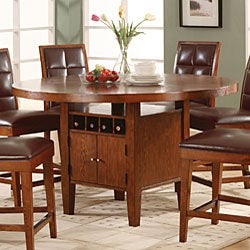 Shop Round Counter Height Dining Table With Wine Storage Base Free