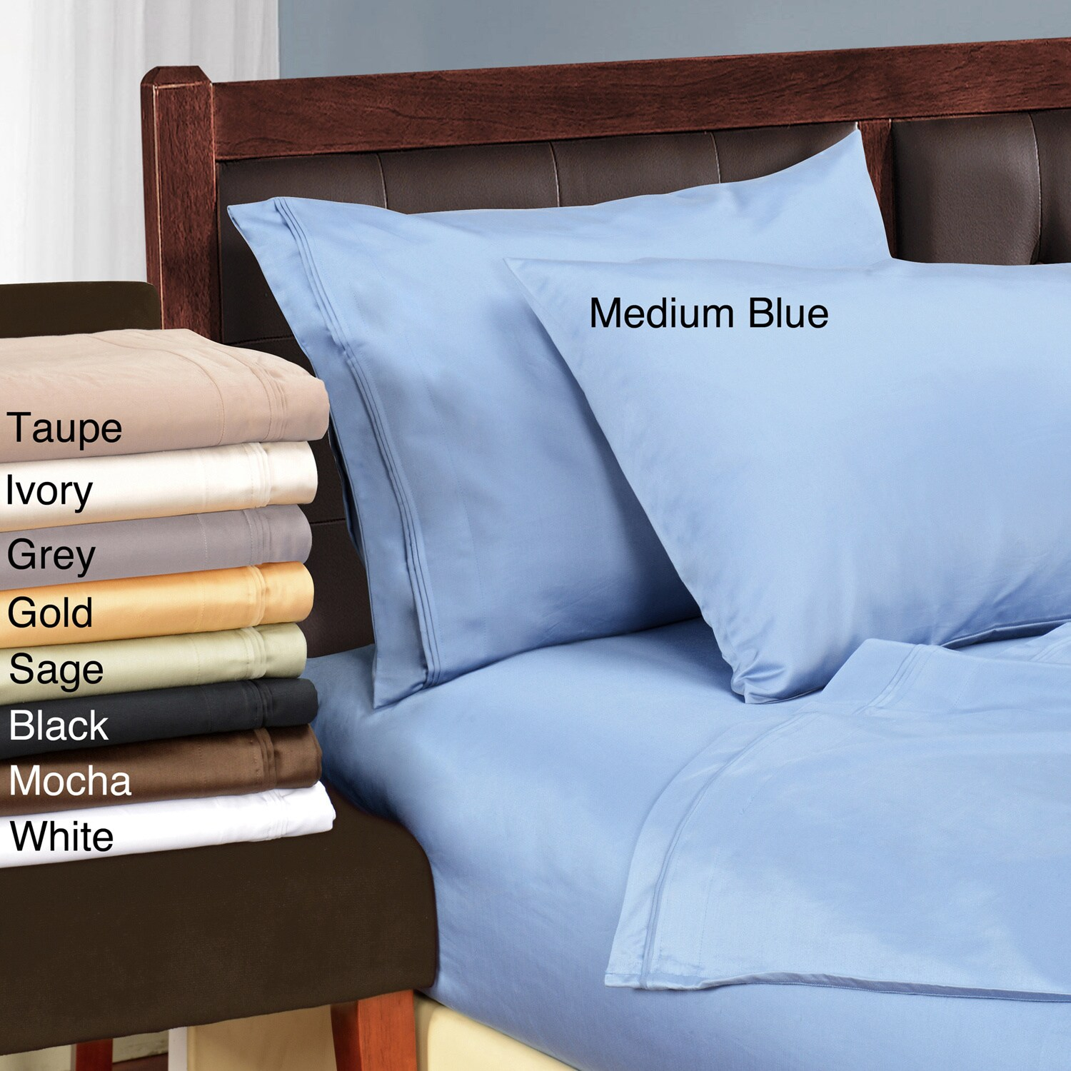 Shop Superior Egyptian Cotton 1500 Thread Count Solid Pillowcase Set ...