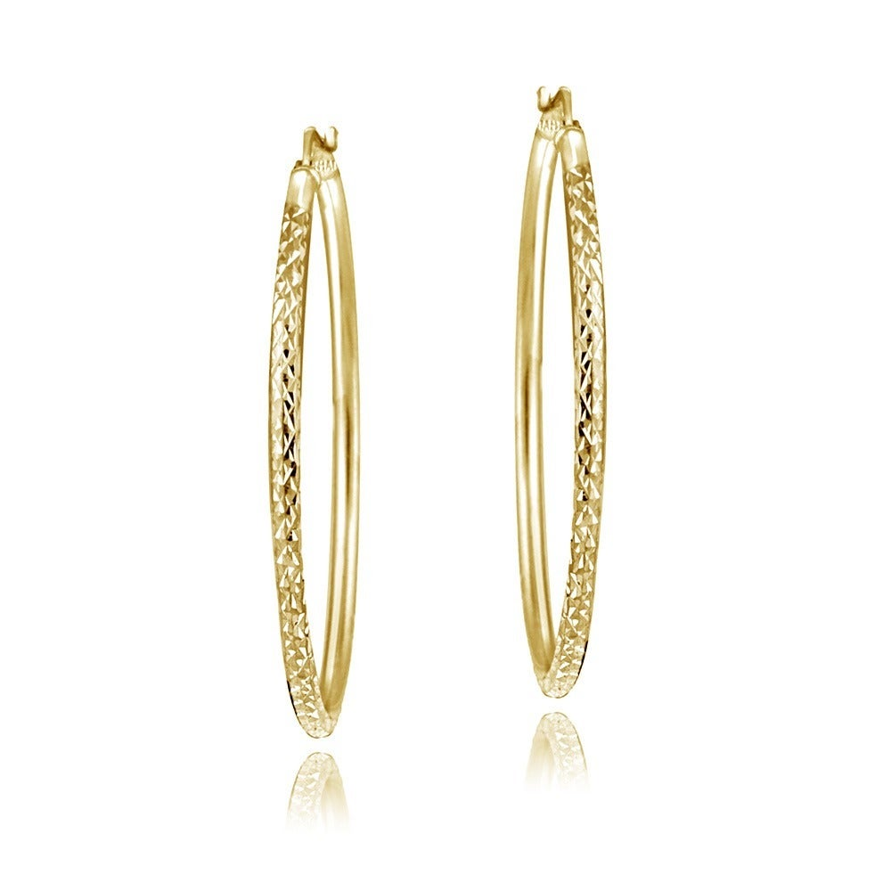 Mondevio 22k Gold Over Sterling Silver Diamond Cut Hoop Earrings On Free Shipping Orders 45 3437546