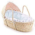 Natural Hooded Moses Basket with Blue Gingham Bedding