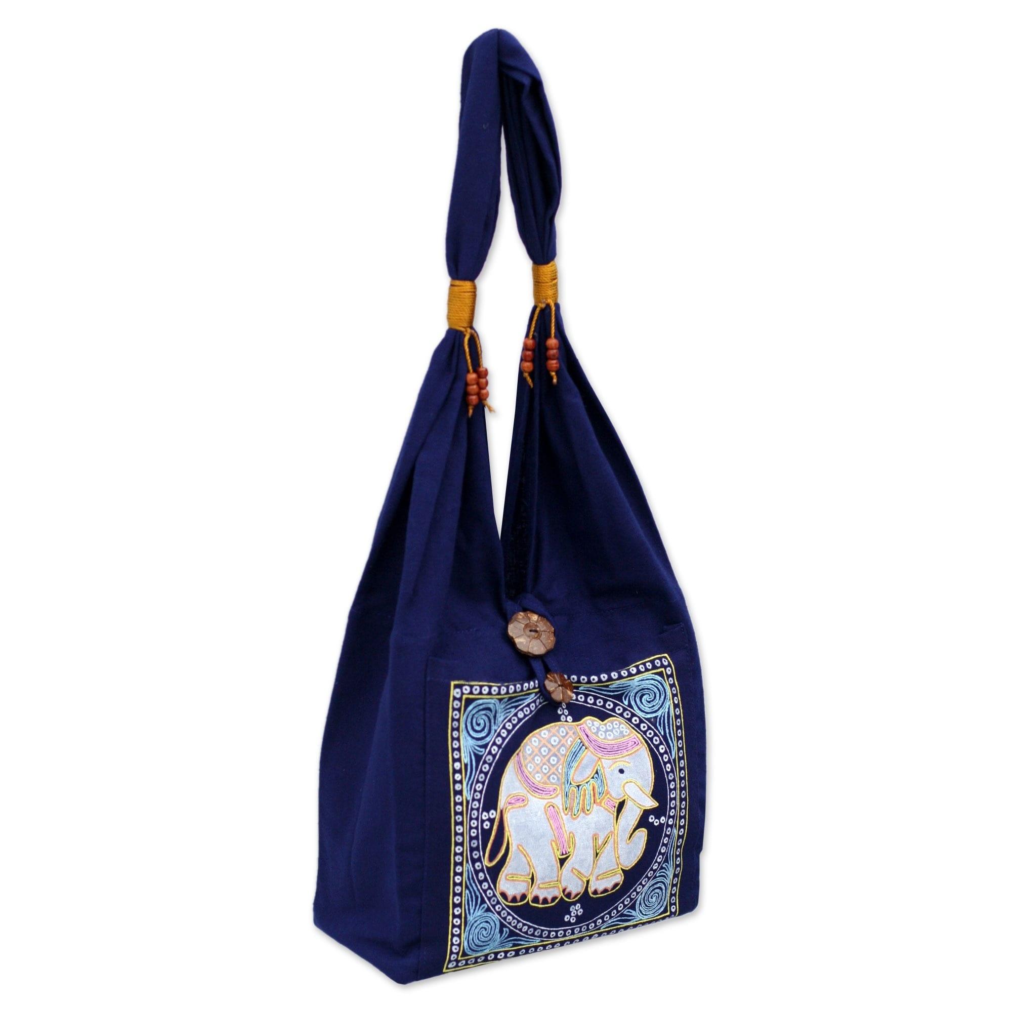 Shop Handmade Cotton Lucky Elephant Handbag Thailand Free
