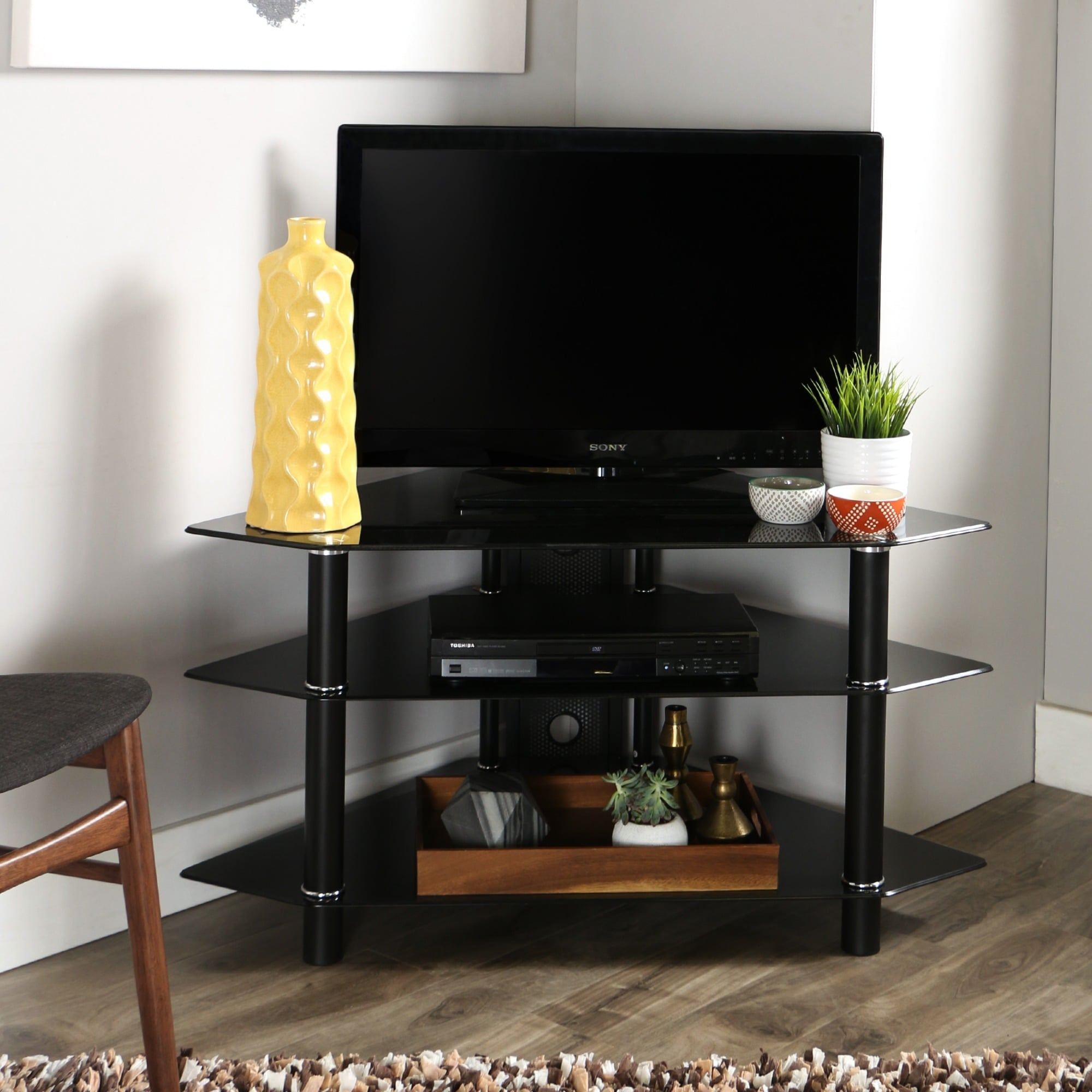 Shop Black Glass Metal 44 Inch Corner Tv Stand Free Shipping Today