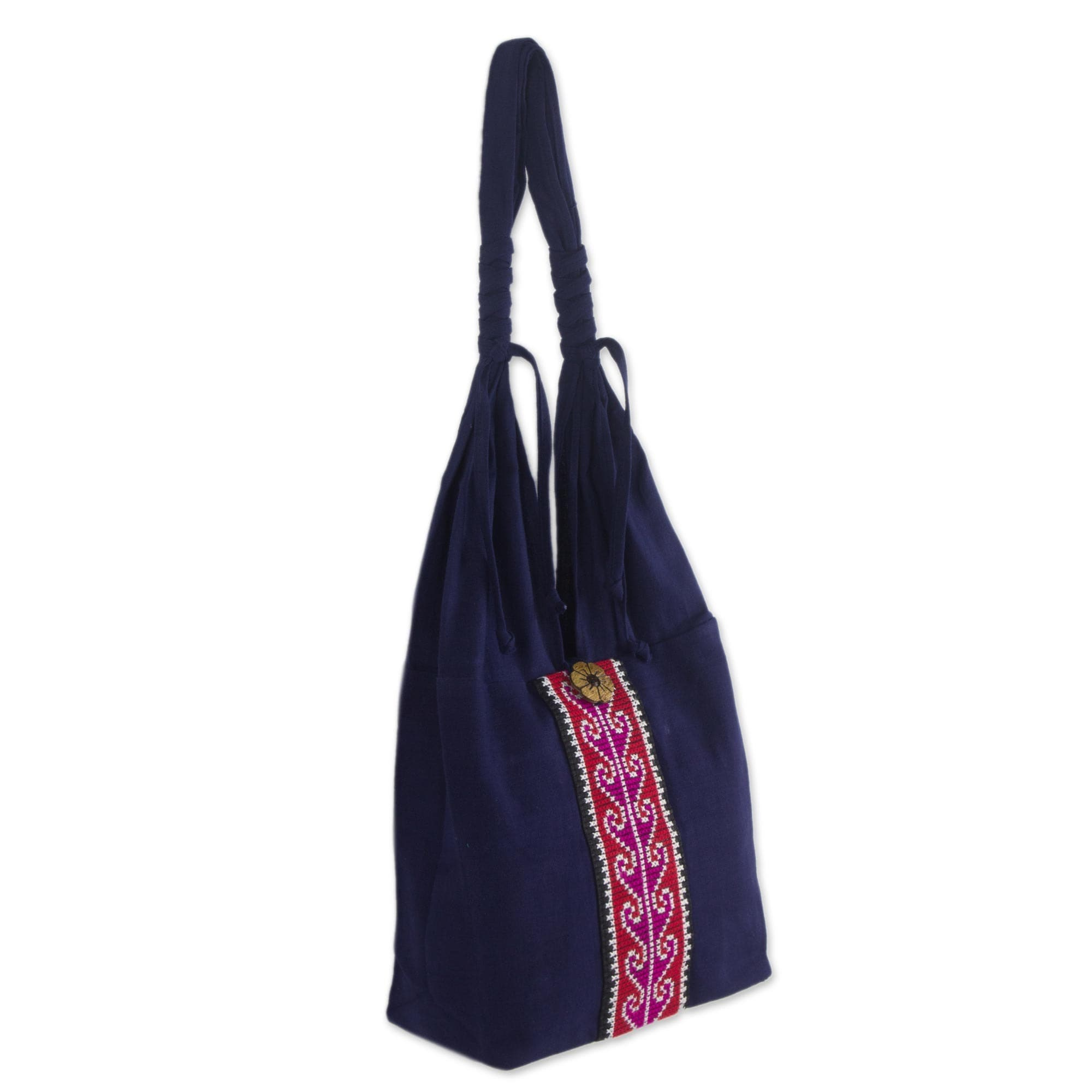 Novica Cotton handbag, Rose River