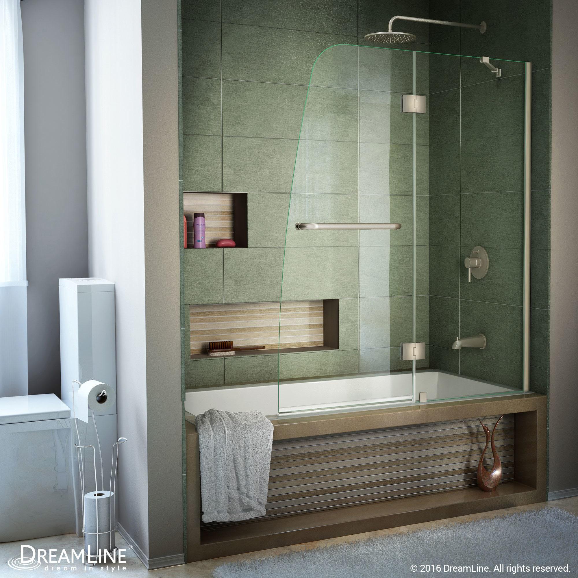 Shop DreamLine Aqua 48 in. Frameless Hinged Tub Door - Free Shipping ...