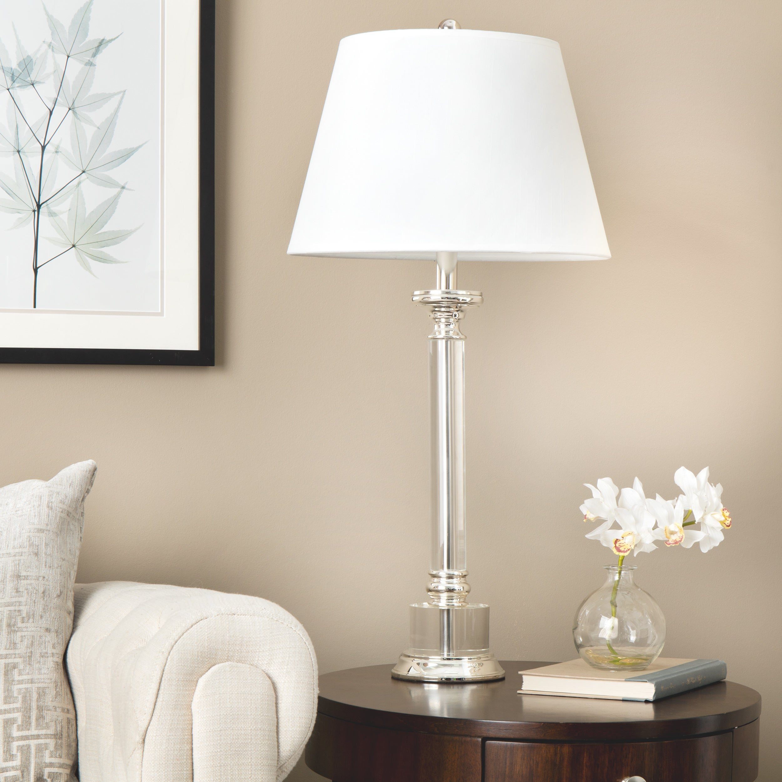 Copper Grove Stately Crystal/Cream Metal/Glass/Fabric Table Lamp ...