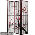Handmade Wood and Rice Paper Flower Blossom 3-panel Room Divider (China)
