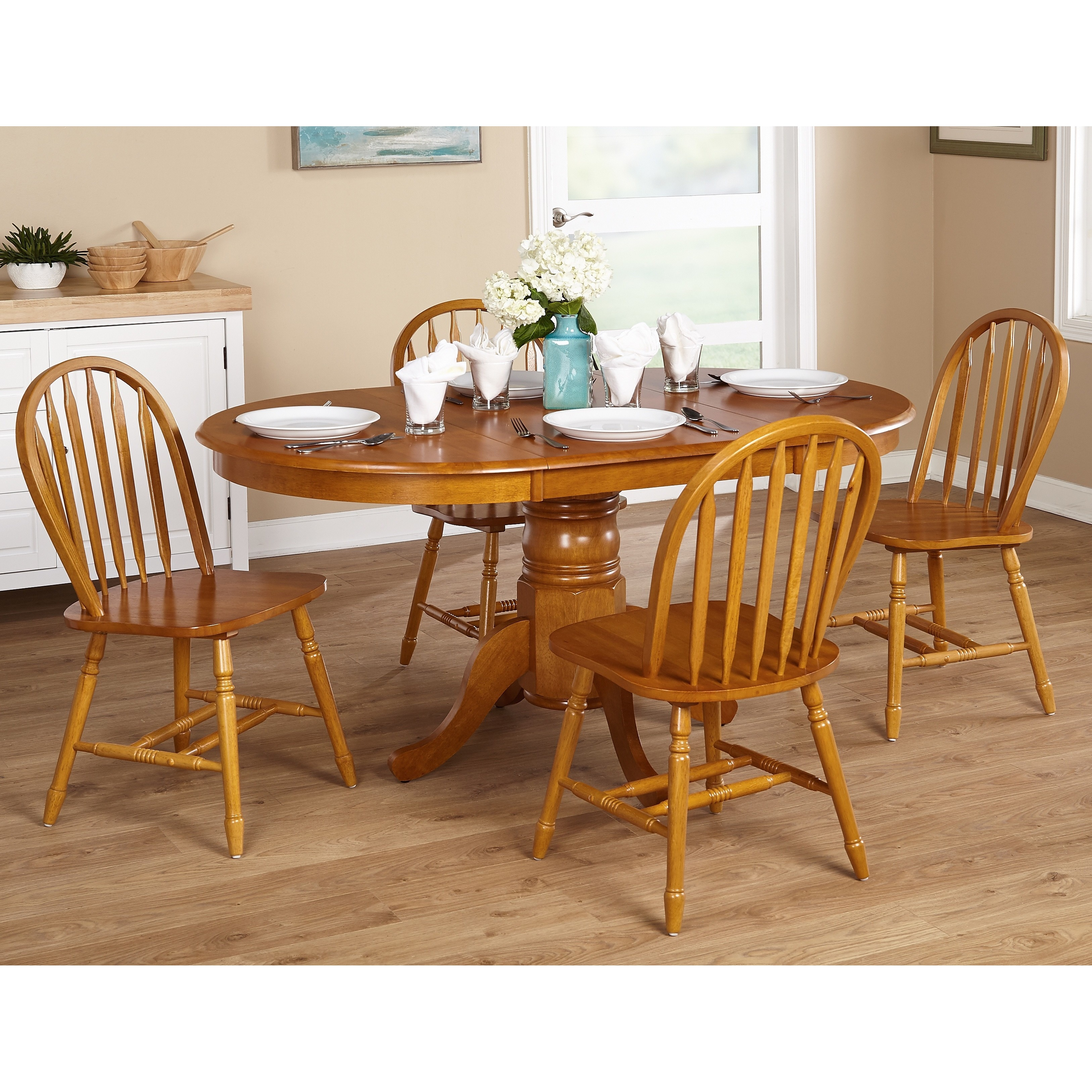 Elegant Simple Living Farmhouse 5 Or 7 Piece Oak Dining Set   Free Shipping Today    Overstock   11572866