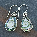 Handmade Abalone and Shiva Shells Silver Earrings (Indonesia)